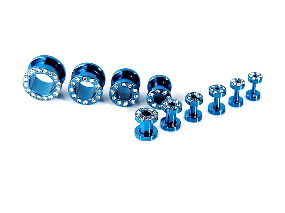 flesh tunnel wei e kristalle plug stopfen ohr blau ebay. Black Bedroom Furniture Sets. Home Design Ideas