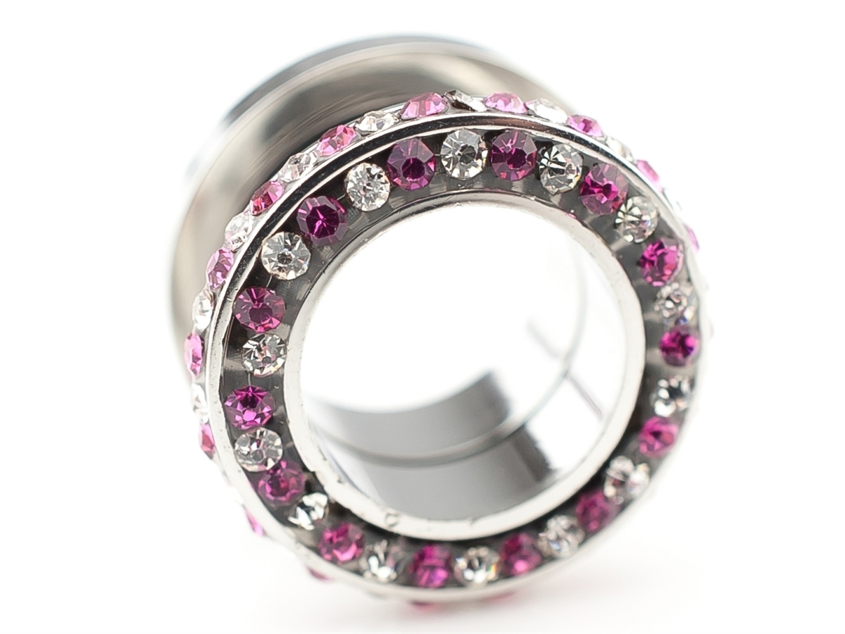 flesh tunnel silber pink wei e kristalle ohr piercing 316l. Black Bedroom Furniture Sets. Home Design Ideas