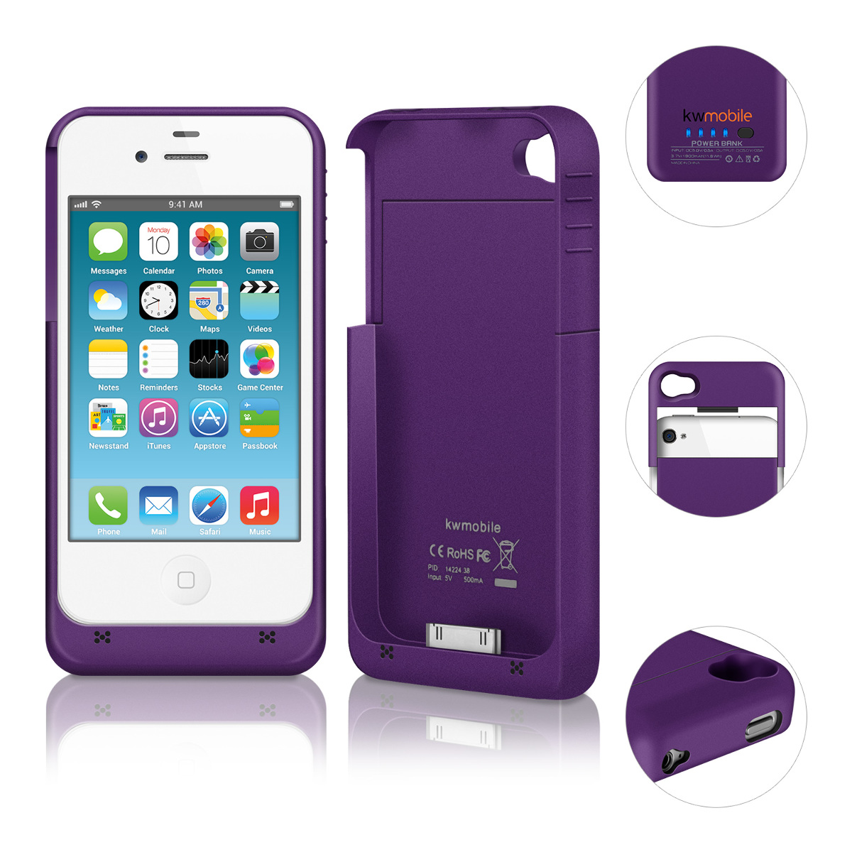 kwmobile housse battery p apple iphone 4 4s aluminium lilas couverture de ebay