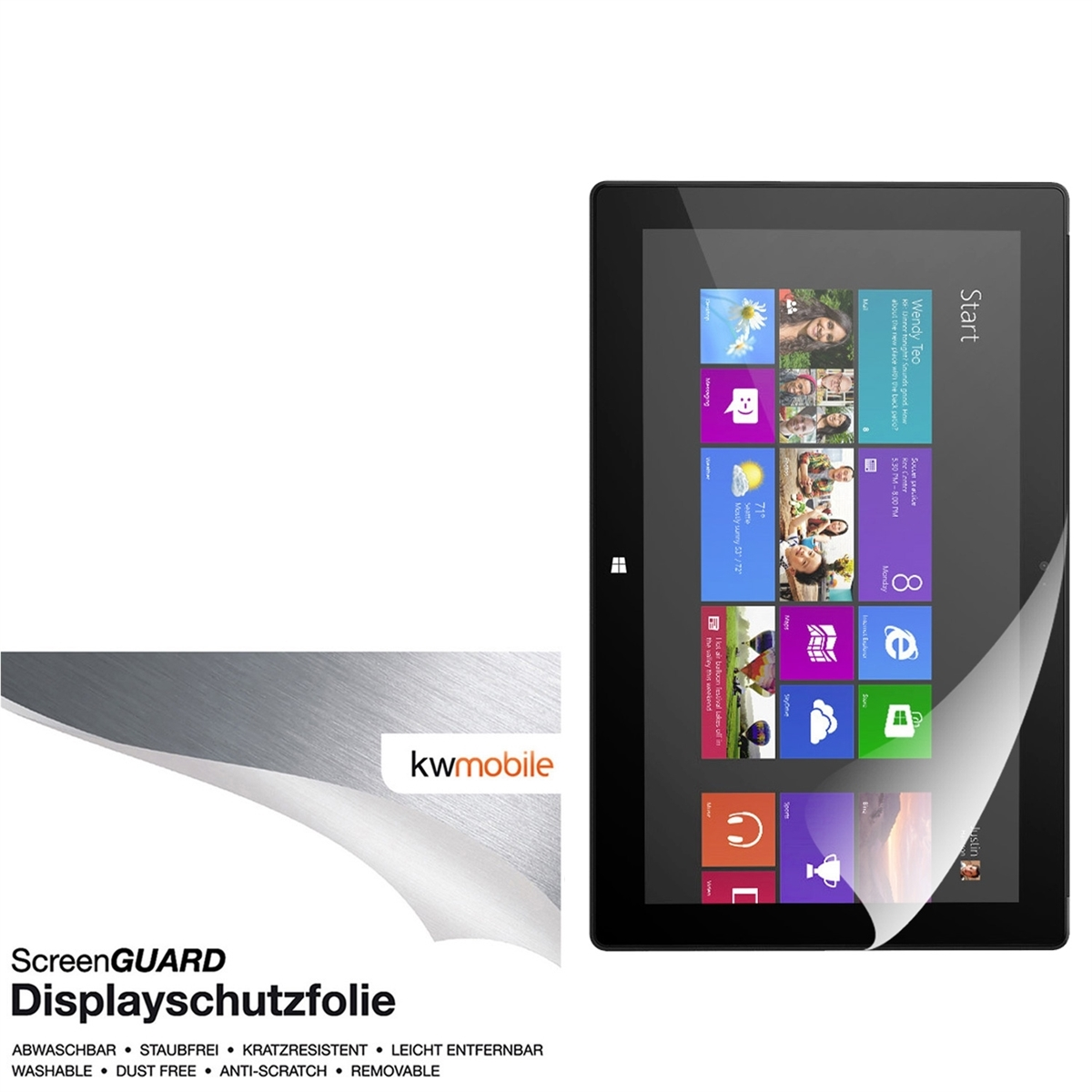 kwmobile film de protection cran pour microsoft surface. Black Bedroom Furniture Sets. Home Design Ideas