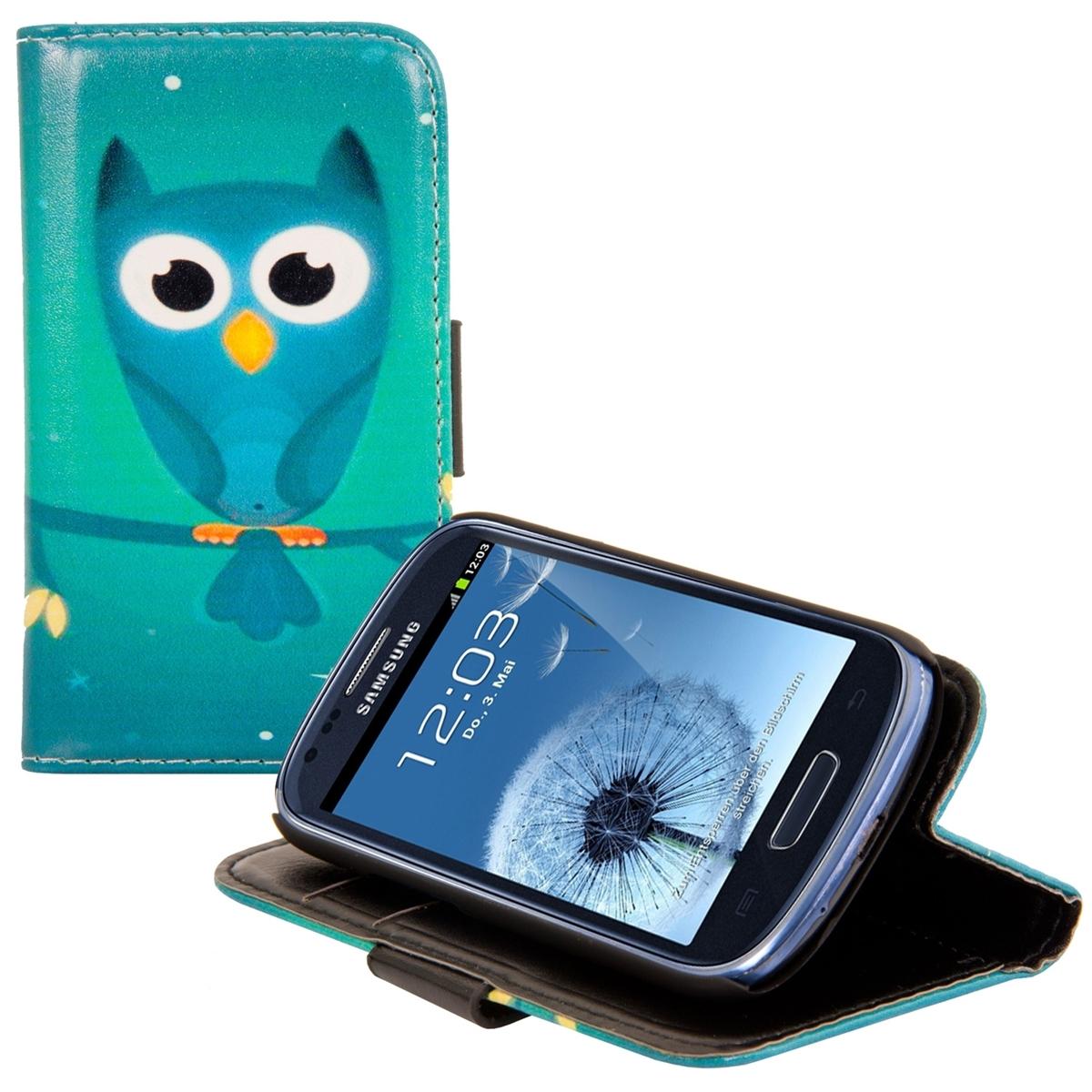 Kožené pouzdro pro Samsung S3 Mini i8190 - Night Owl modré / tyrkysové