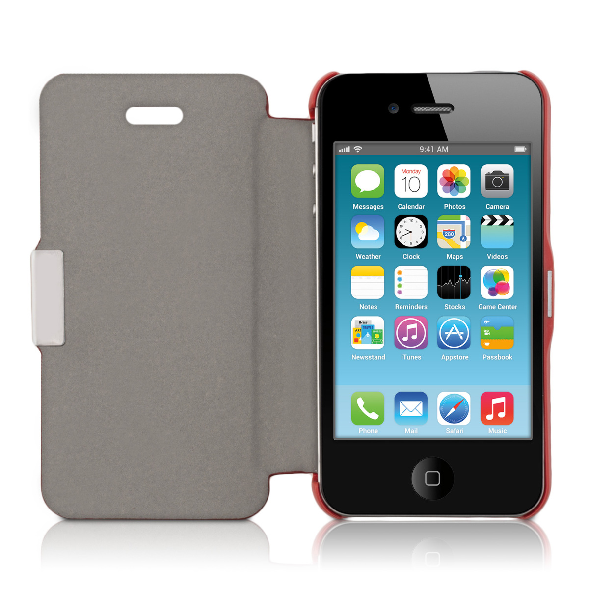 Flip cover para apple iphone 4 4s rojo funda carcasa protectora trasera ebay - Fundas iphone 4 4s ...