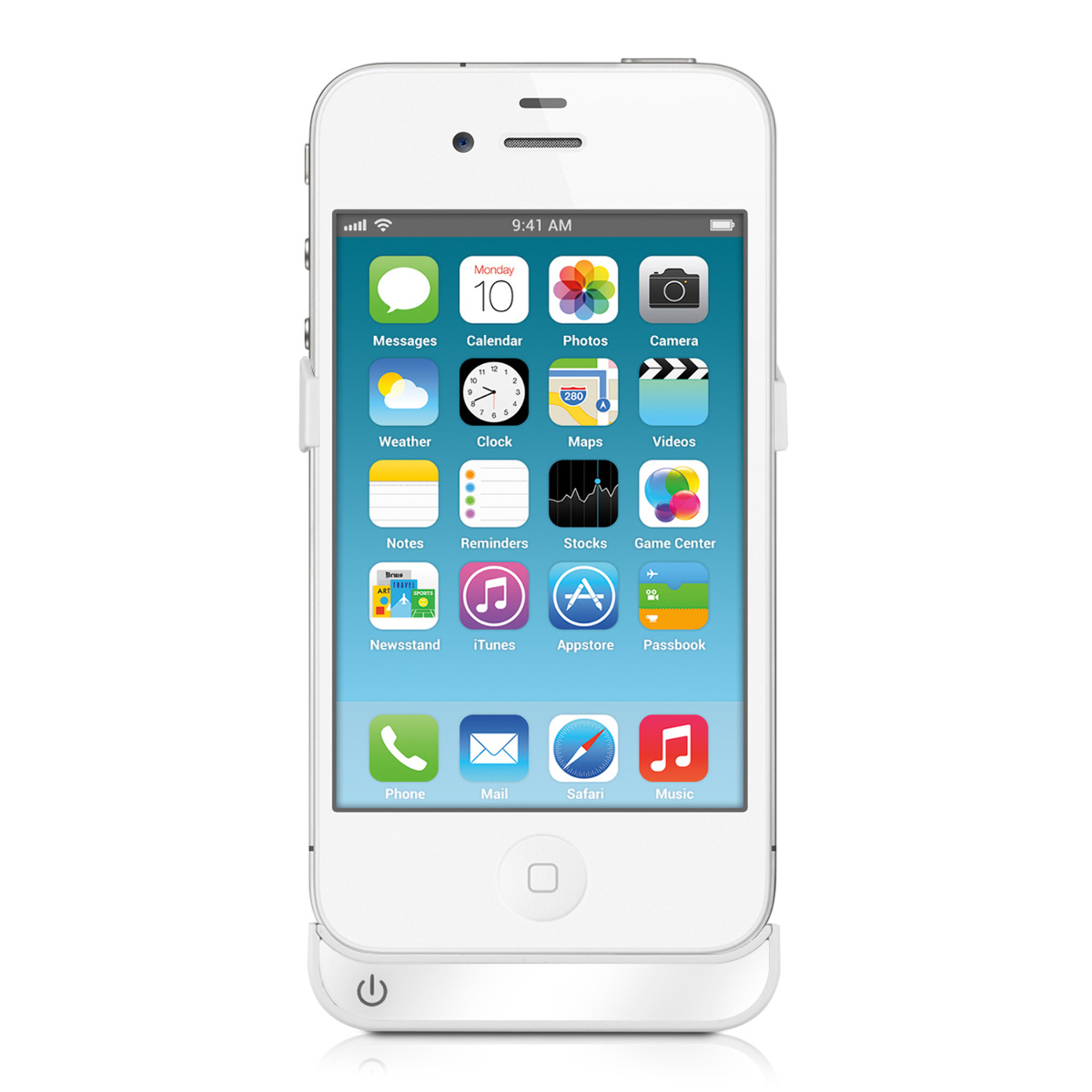 Akku-Flip-Cover-Schutz-Huelle-fuer-Apple-Iphone-4-4S-Case-Weiss-Power-Bank-2200-Up
