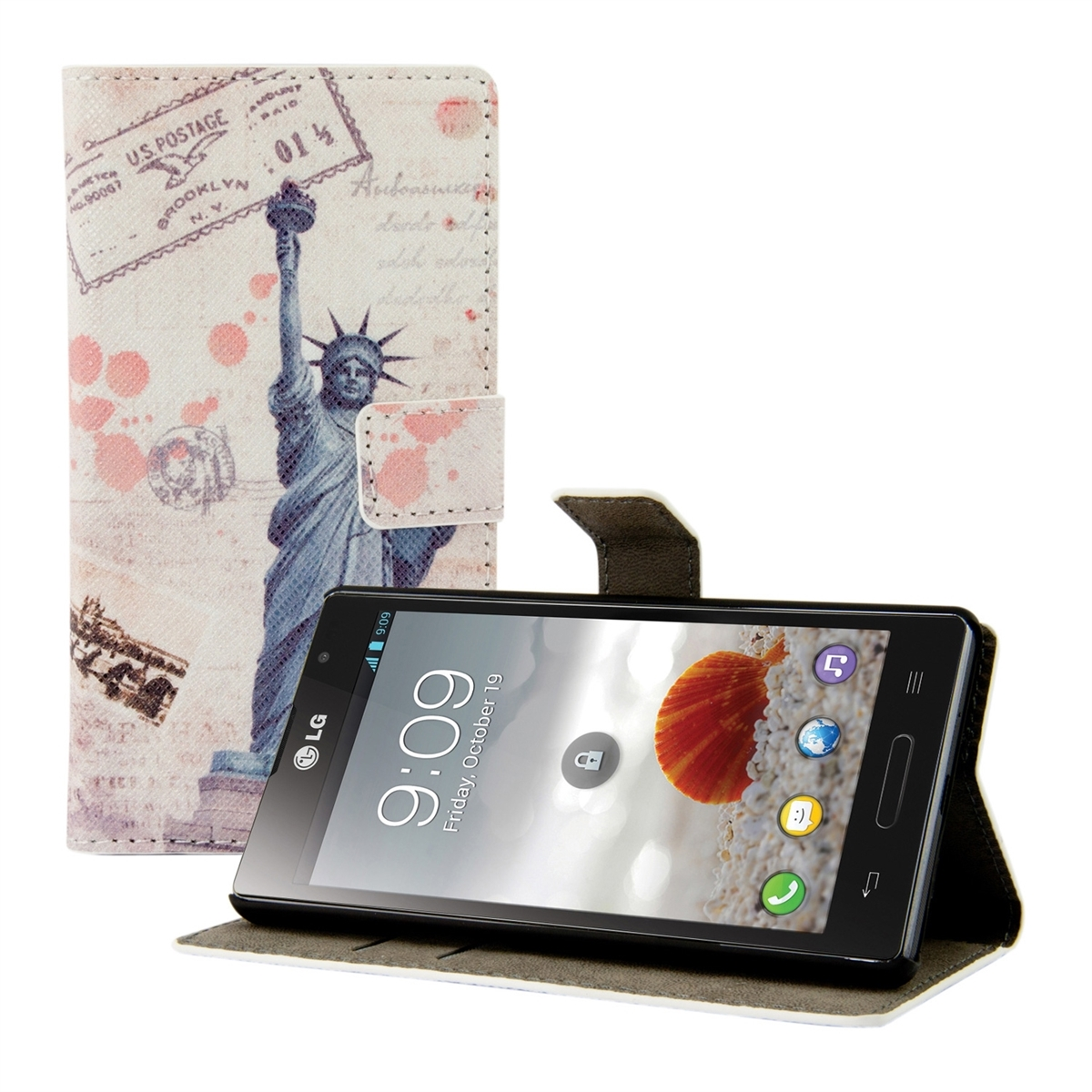 kwmobile WALLET LEATHER CASE DESIGN FOR LG OPTIMUS L9 P760 DESIRED COLOUR PURSE