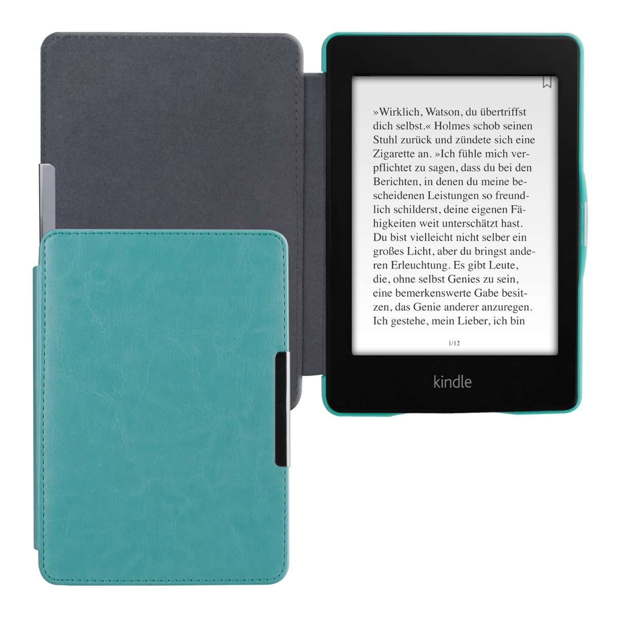 LEATHER FLIP COVER F AMAZON KINDLE PAPERWHITE 2 LIGHT BLUE