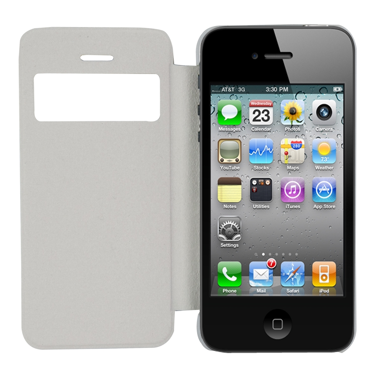 Kwmobileflip cover per apple iphone se 5 5s in bianco - Cover con finestra ...