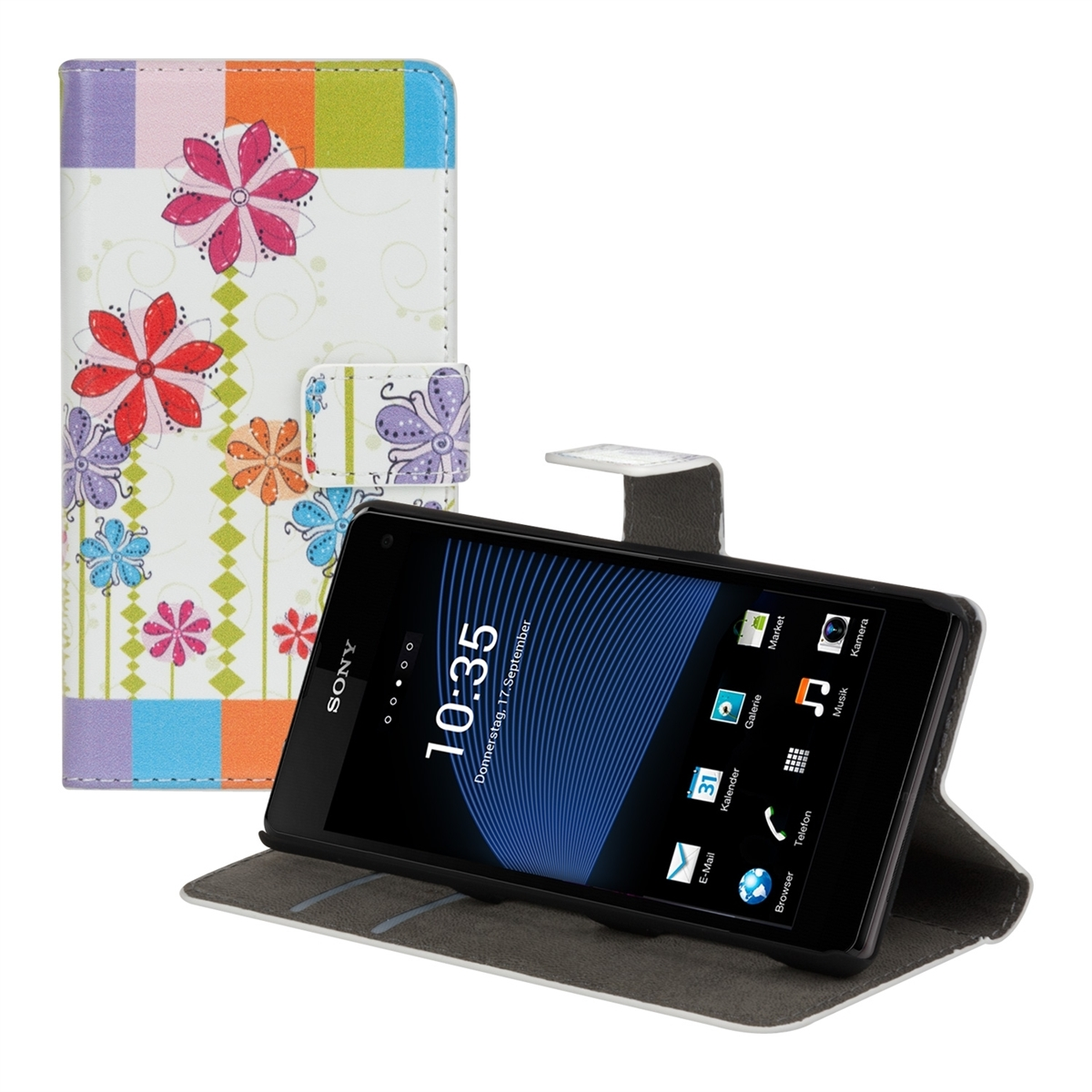 ledertasche sony xperia z1 compact blume in neuwilen tg. Black Bedroom Furniture Sets. Home Design Ideas