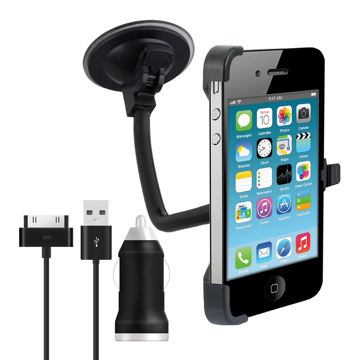 kwmobile auto halterung f r apple iphone 4 4s ladeger t flexibel kfz halter ebay. Black Bedroom Furniture Sets. Home Design Ideas