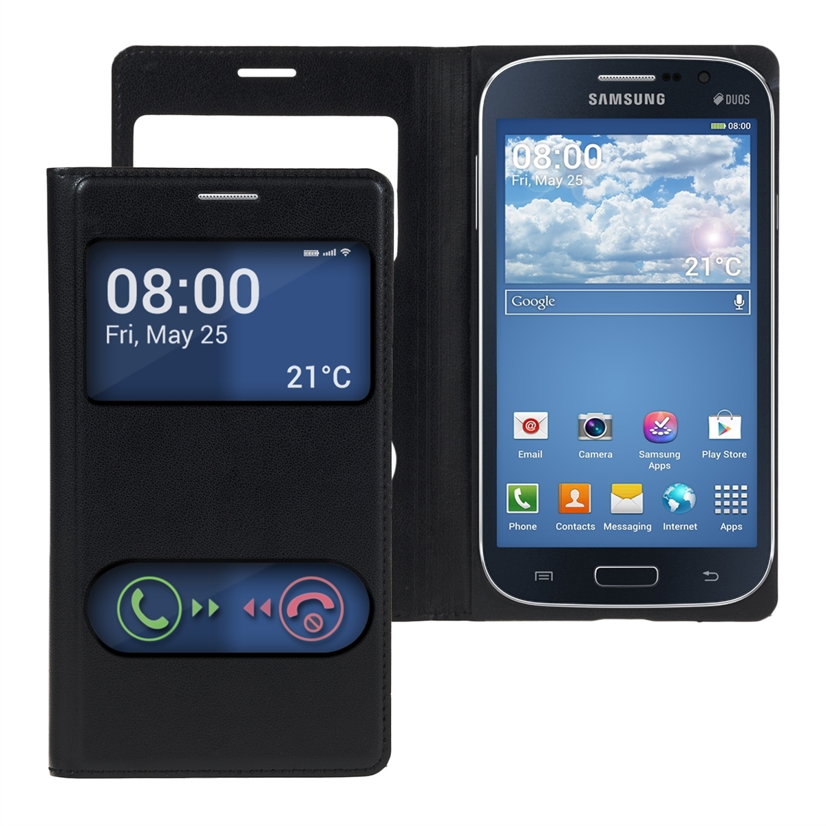 kwmobile WINDOW SYNTHETIC LEATHER FLIP COVER FOR SAMSUNG GALAXY GRAND NEO /