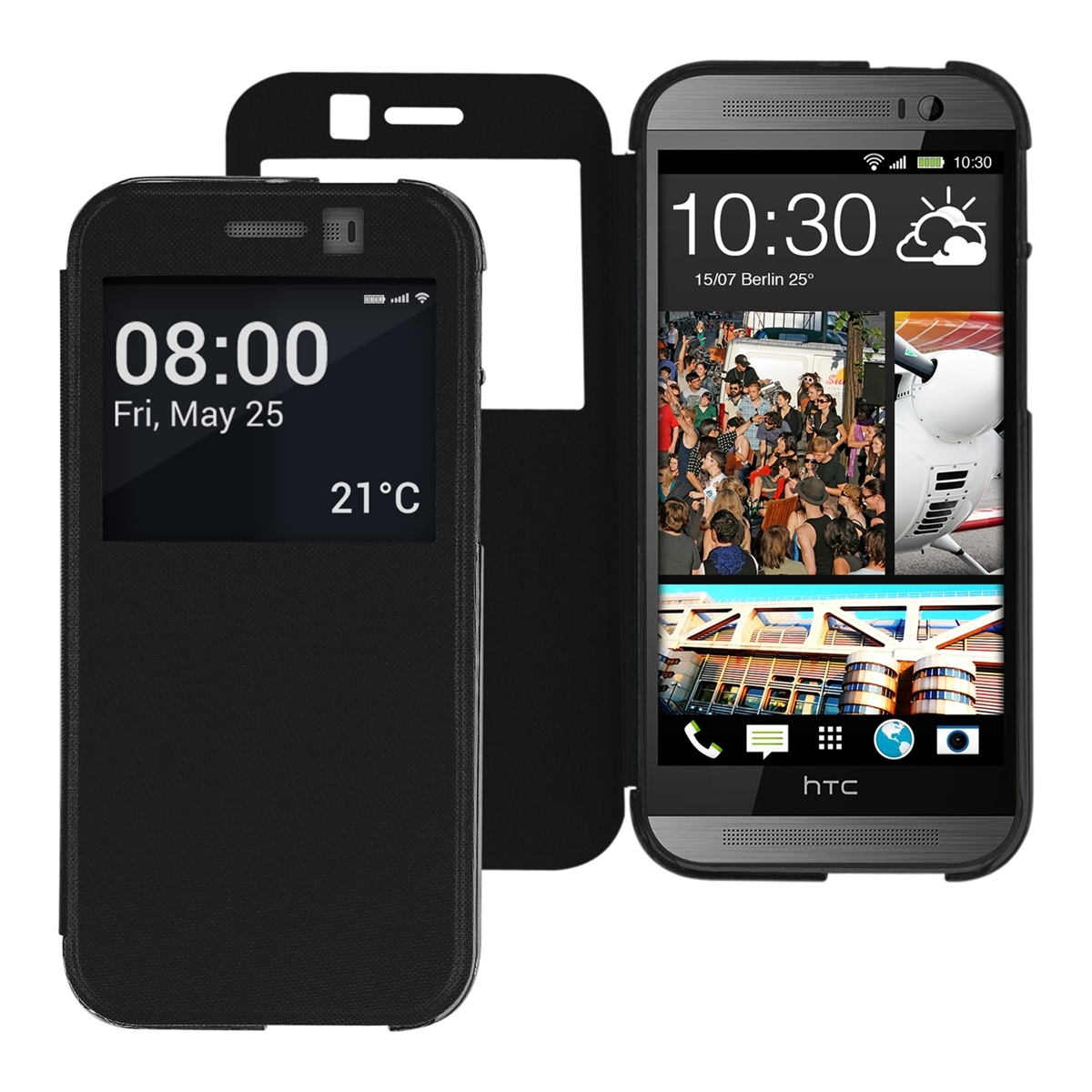 FLIP COVER FOR HTC ONE M8 DUAL BLACK WINDOW CASE SLIM BACK ...