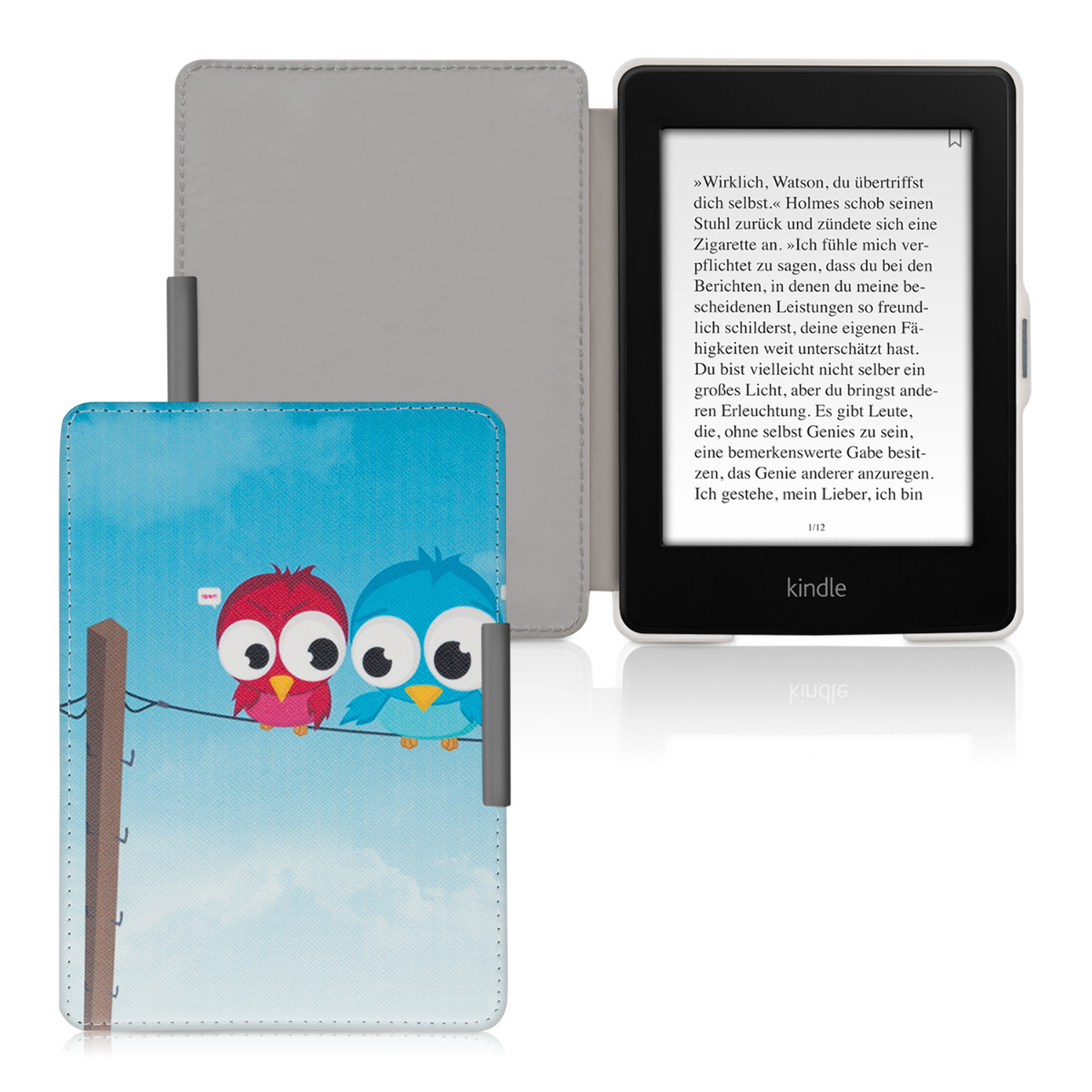 kwmobile synthetic leather flip cover for amazon kindle