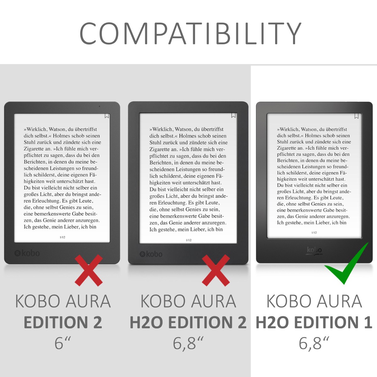 Flip cover for kobo aura h2o edition 1 black protection for Housse kobo aura h2o edition 2