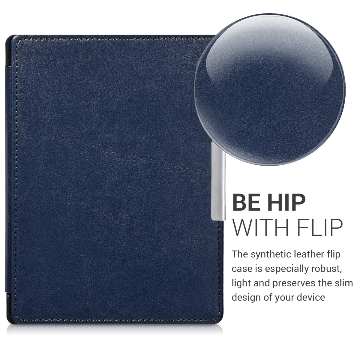 Flip cover for kobo aura h2o edition 1 dark blue for Housse kobo aura h2o edition 2