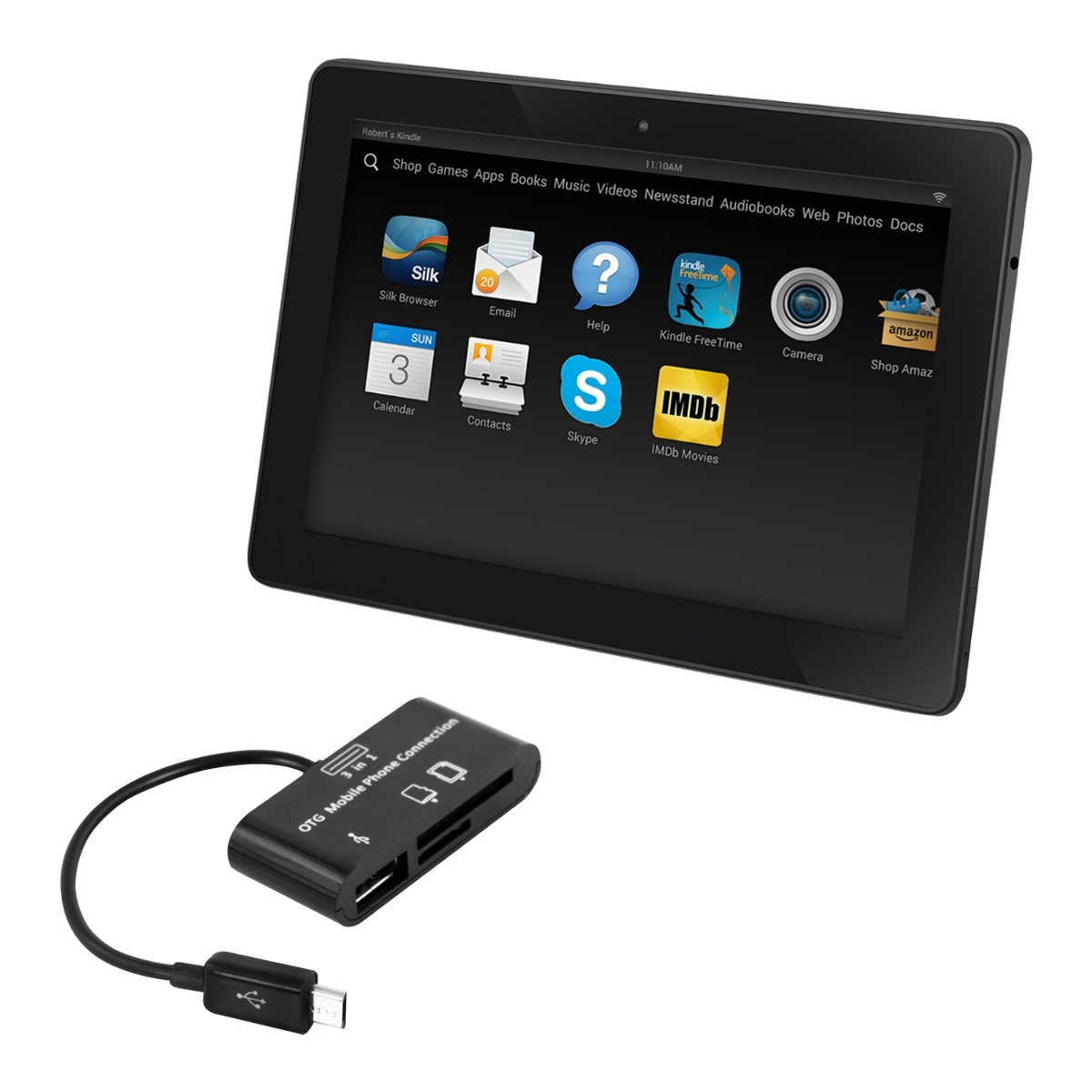 kwmobile 3in1 Micro USB Adapter Card Reader OTG for Amazon Kindle Fire HD 7  2014 black. ‹ › ‹ › ‹ ›