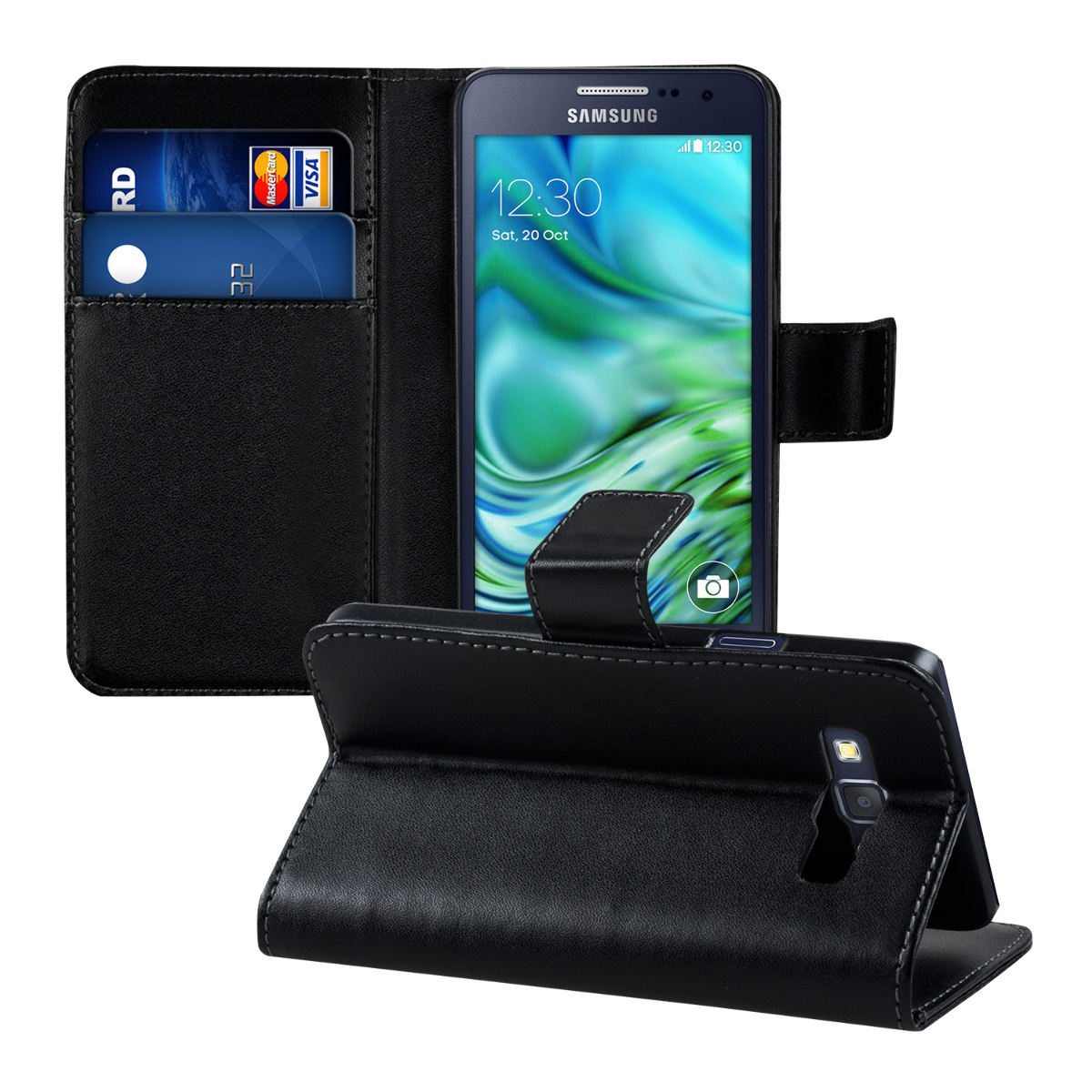 kwmobile wallet leather case for samsung galaxy a3 cover. Black Bedroom Furniture Sets. Home Design Ideas