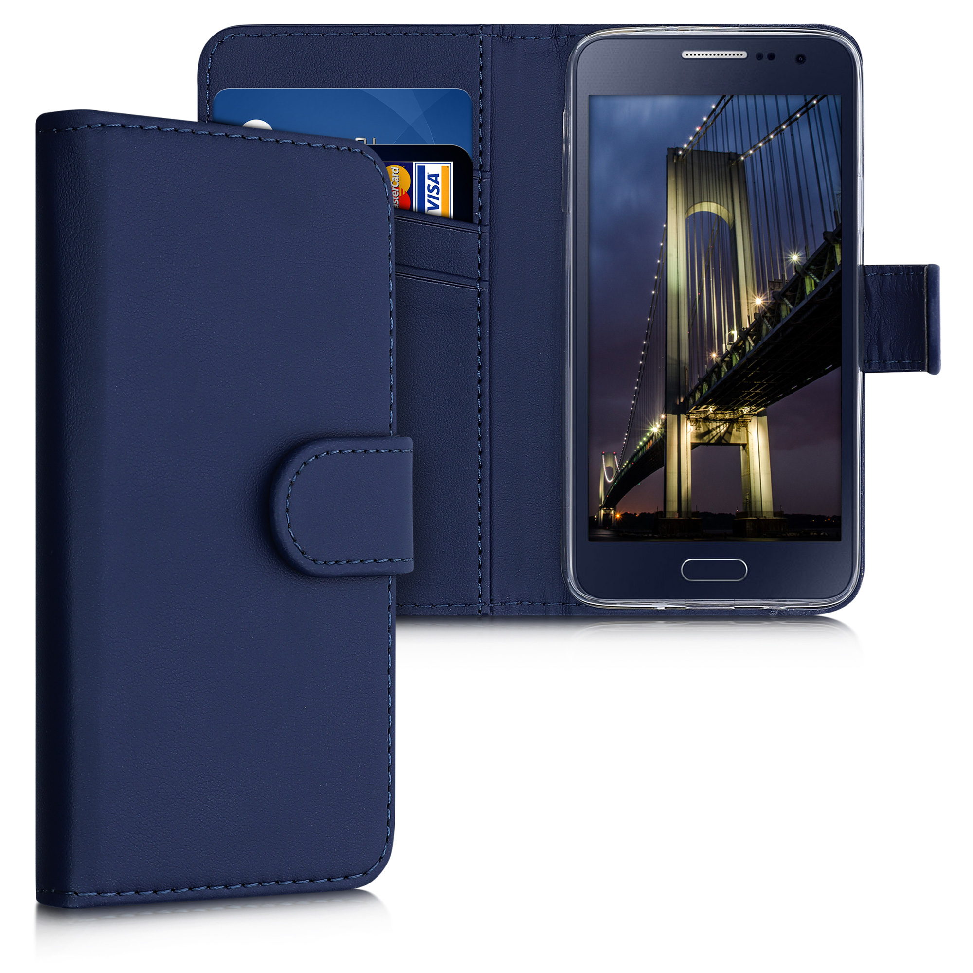 Kožené pouzdro pro Samsung A3 (2015) - tmavě modré