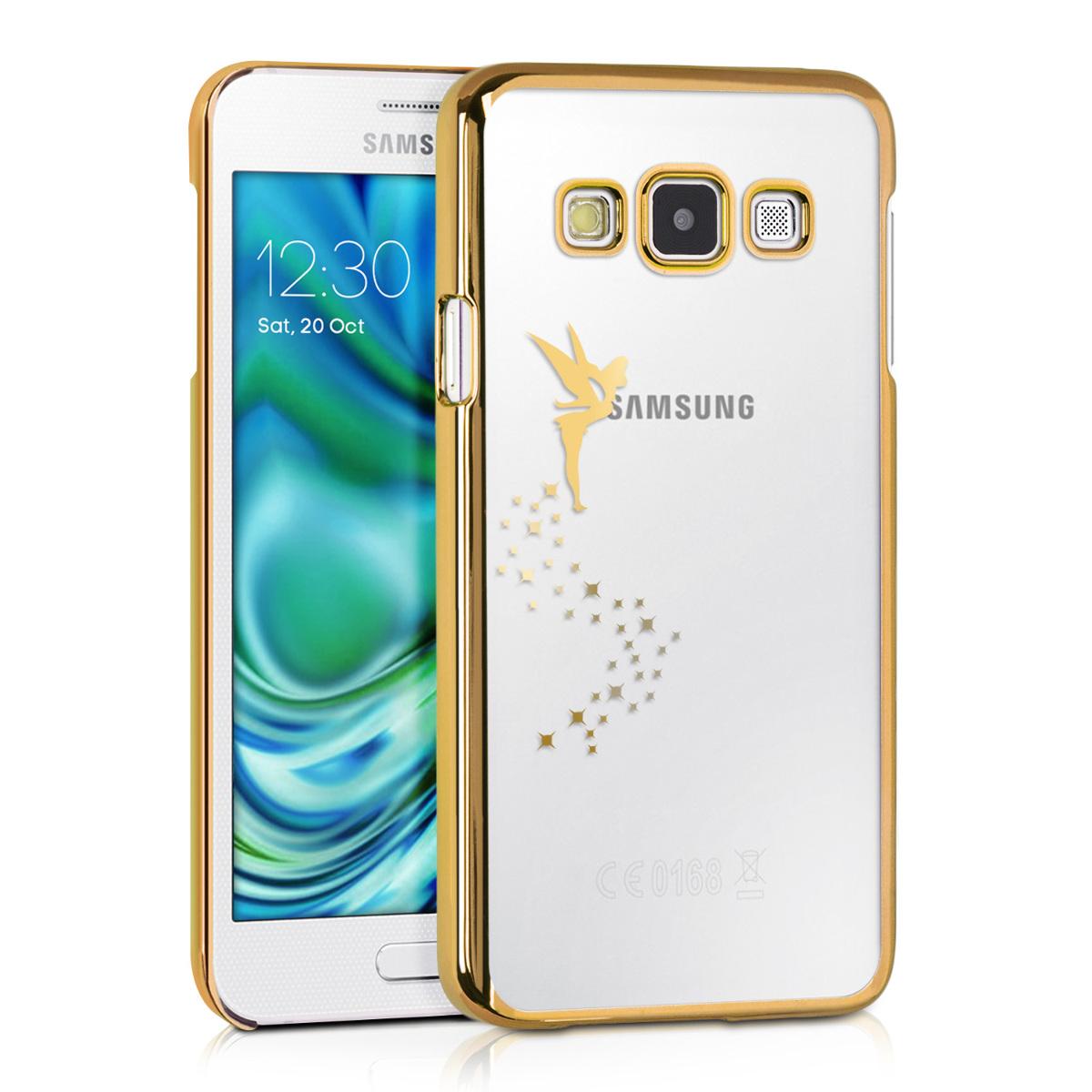 Kvalitní silikonové TPU pouzdro pro Samsung A3 (2015) - Víla Gold / transparentní