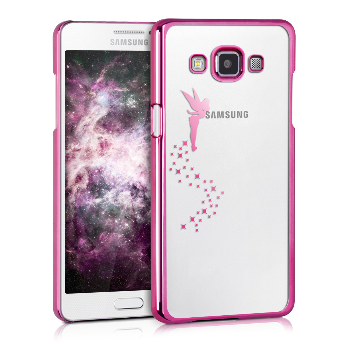 Kvalitní silikonové TPU pouzdro pro Samsung A5 (2015) - Víla tmavě růžové / transparentní