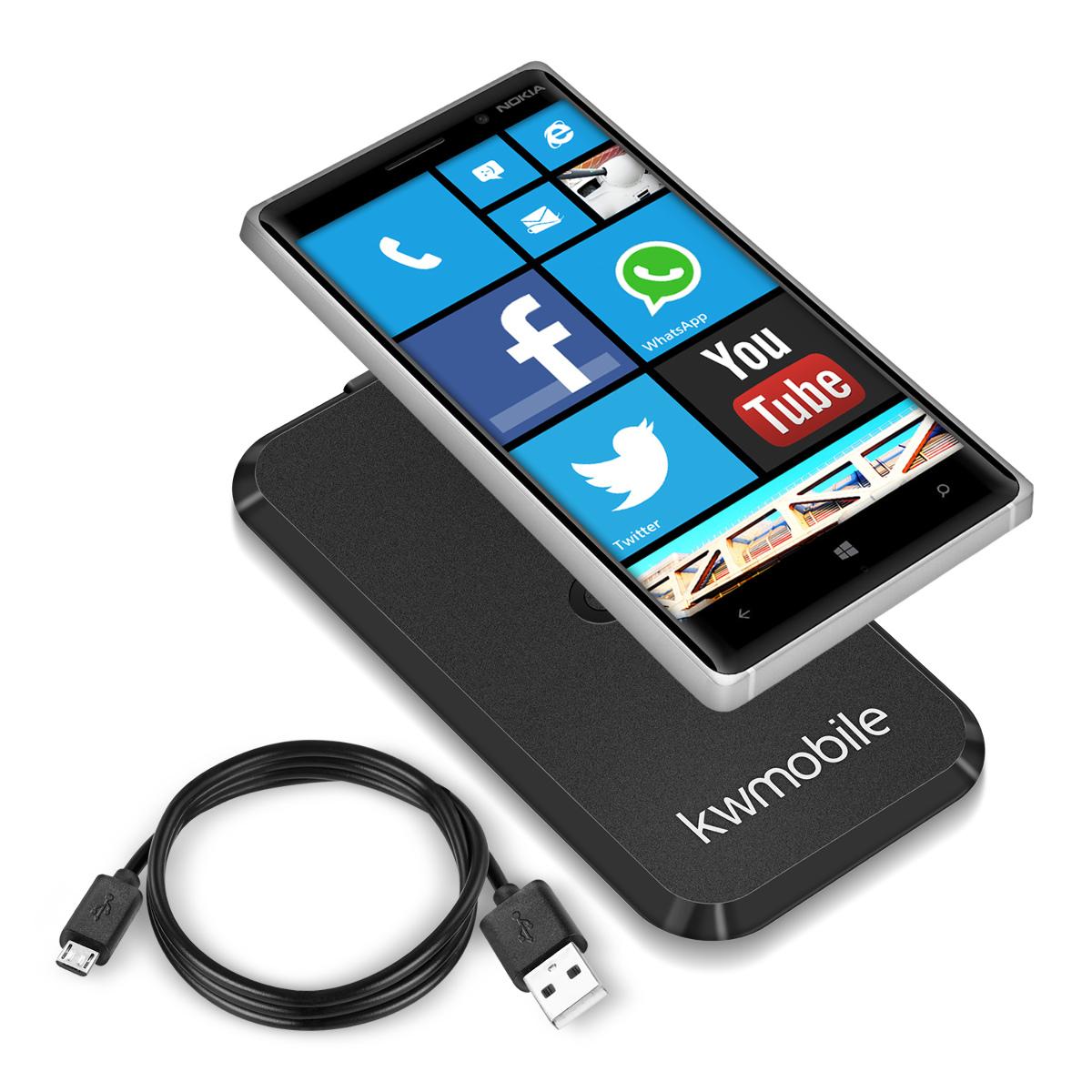 kwmobile chargeur sans fil pour nokia lumia 830 noir recharge qi station ebay. Black Bedroom Furniture Sets. Home Design Ideas