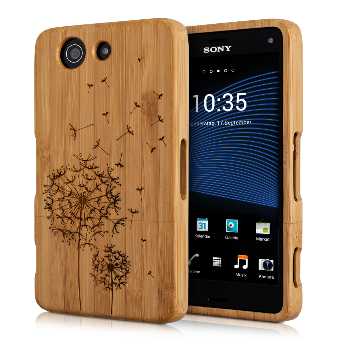 kwmobile-WOOD-COVER-FOR-SONY-XPERIA-Z3-COMPACT-BAMBOO-CASE-BACK-HARD ...