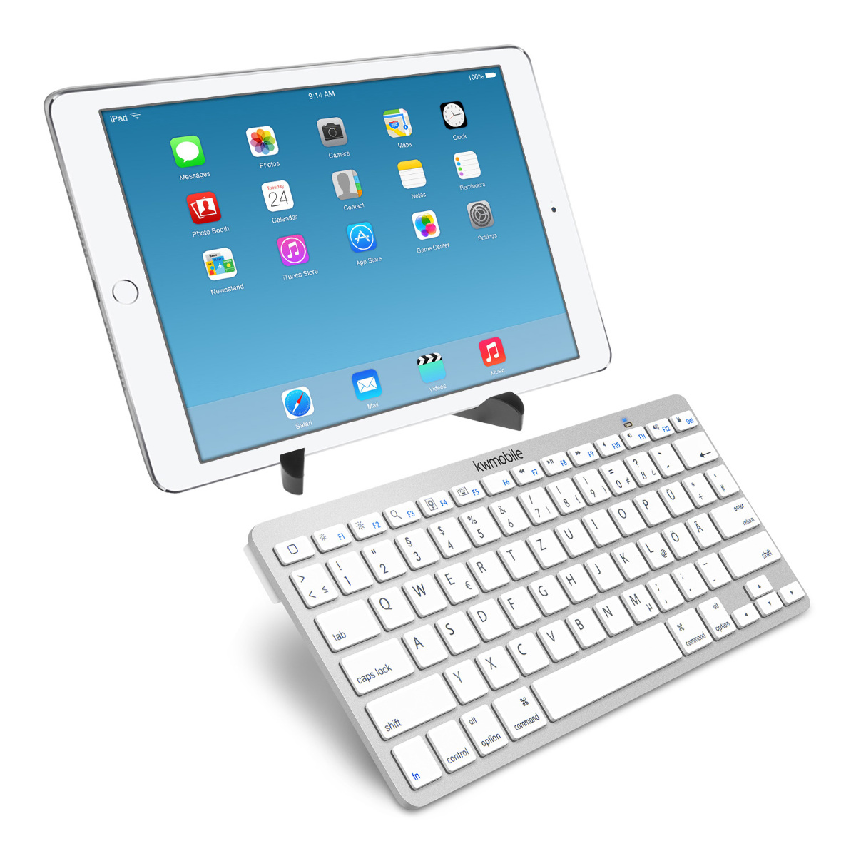 kwmobile bluetooth keyboard f r apple ipad air 2 tastatur wei tablet handy key ebay. Black Bedroom Furniture Sets. Home Design Ideas