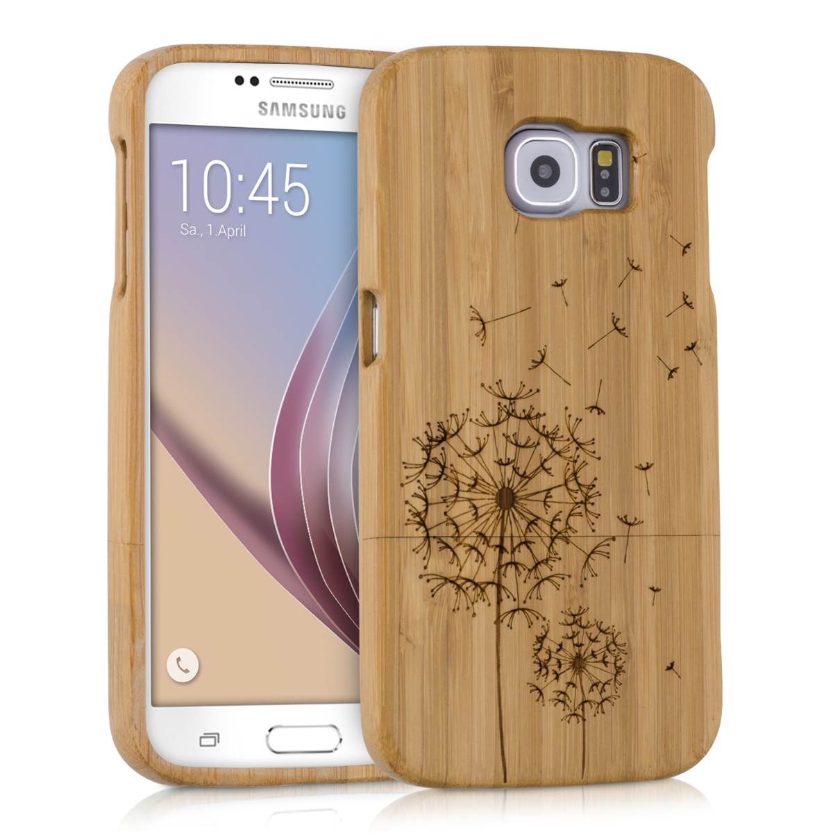 kwmobile BAMBOO COVER FOR SAMSUNG Galaxy S6 / S6 Duos BROWN CASE WOOD BACK HARD