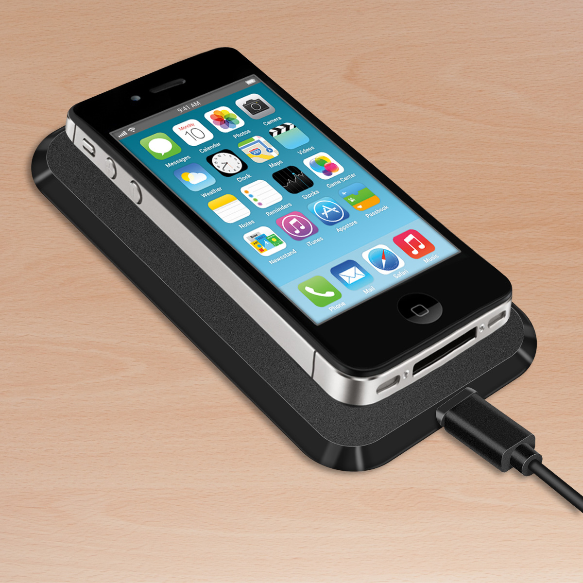 kwmobile wireless charging station for apple iphone 4 4s black qi docking. Black Bedroom Furniture Sets. Home Design Ideas