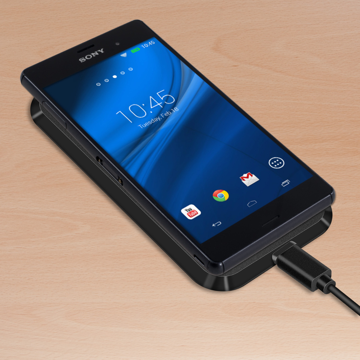 kwmobile wireless lade station f r sony xperia z3 schwarz. Black Bedroom Furniture Sets. Home Design Ideas