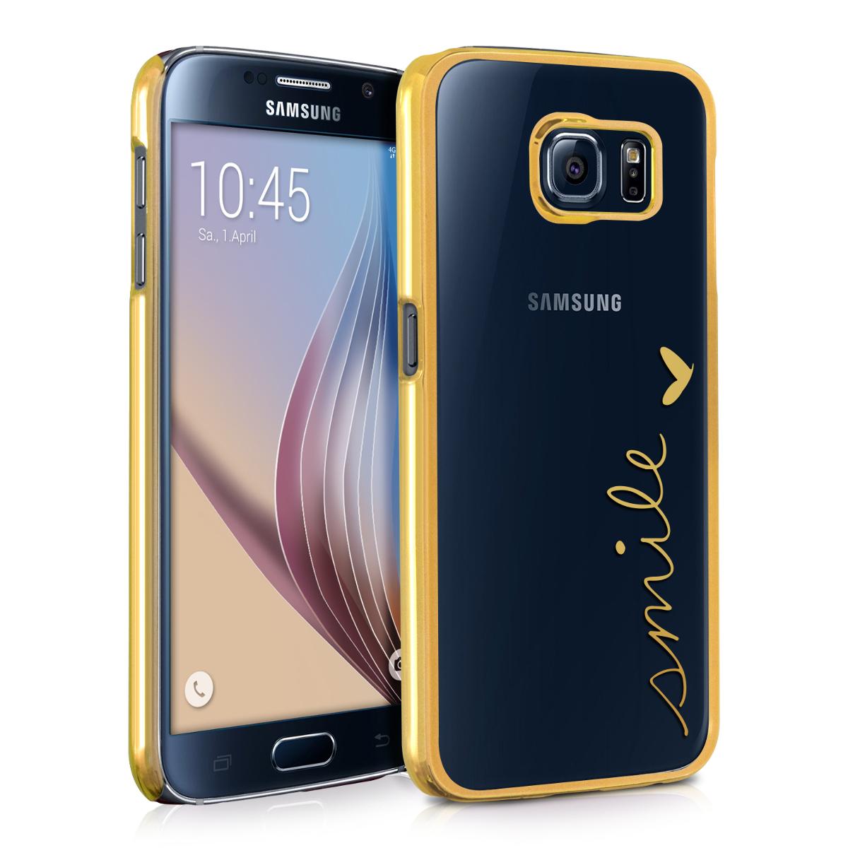 Kvalitní plastové pouzdro pro Samsung S6 | S6 Duos - Usmívat Gold / transparentní