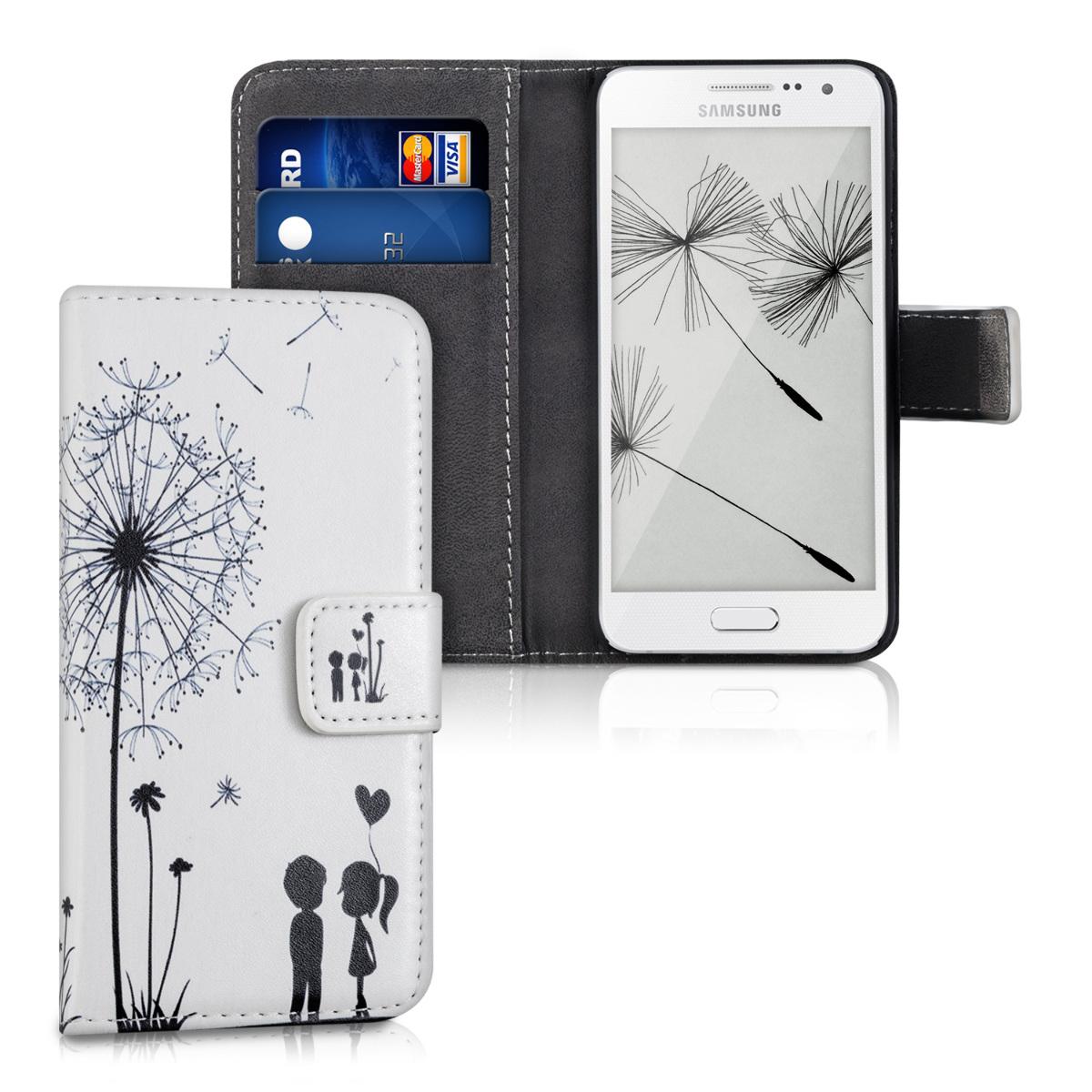 Kožené pouzdro pro Samsung A3 (2015) - Pampeliška Láska černé / bílé