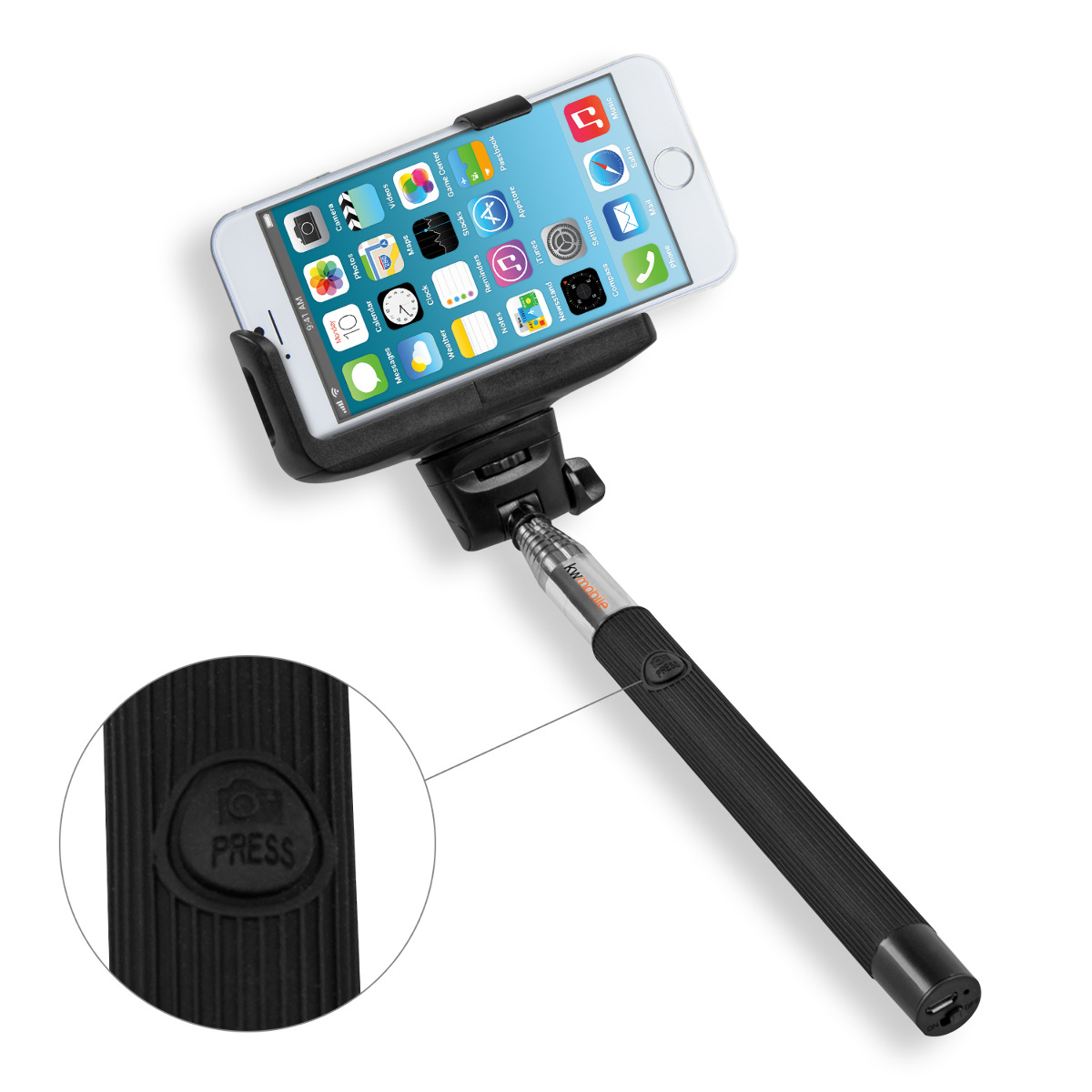 kwmobile selfie stick f r apple iphone 6 6s 7 iphone 6 4 7 schwarz smartpho. Black Bedroom Furniture Sets. Home Design Ideas