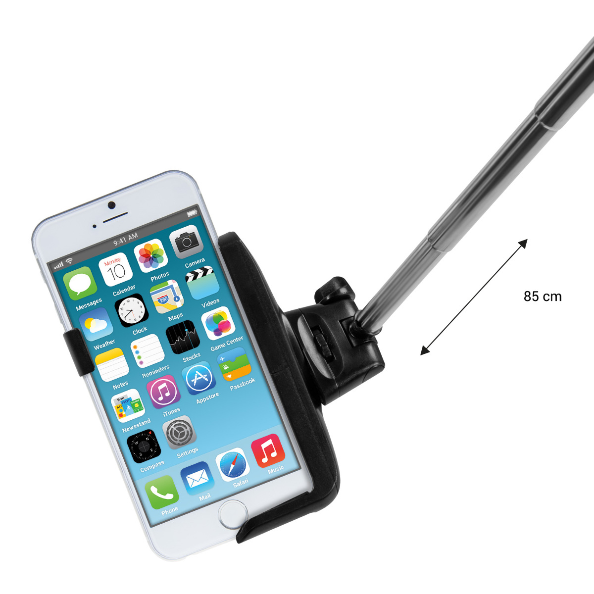 kwmobile selfie stick f r apple iphone 6 6s 7 iphone 6 4 7 schwarz smartphone. Black Bedroom Furniture Sets. Home Design Ideas