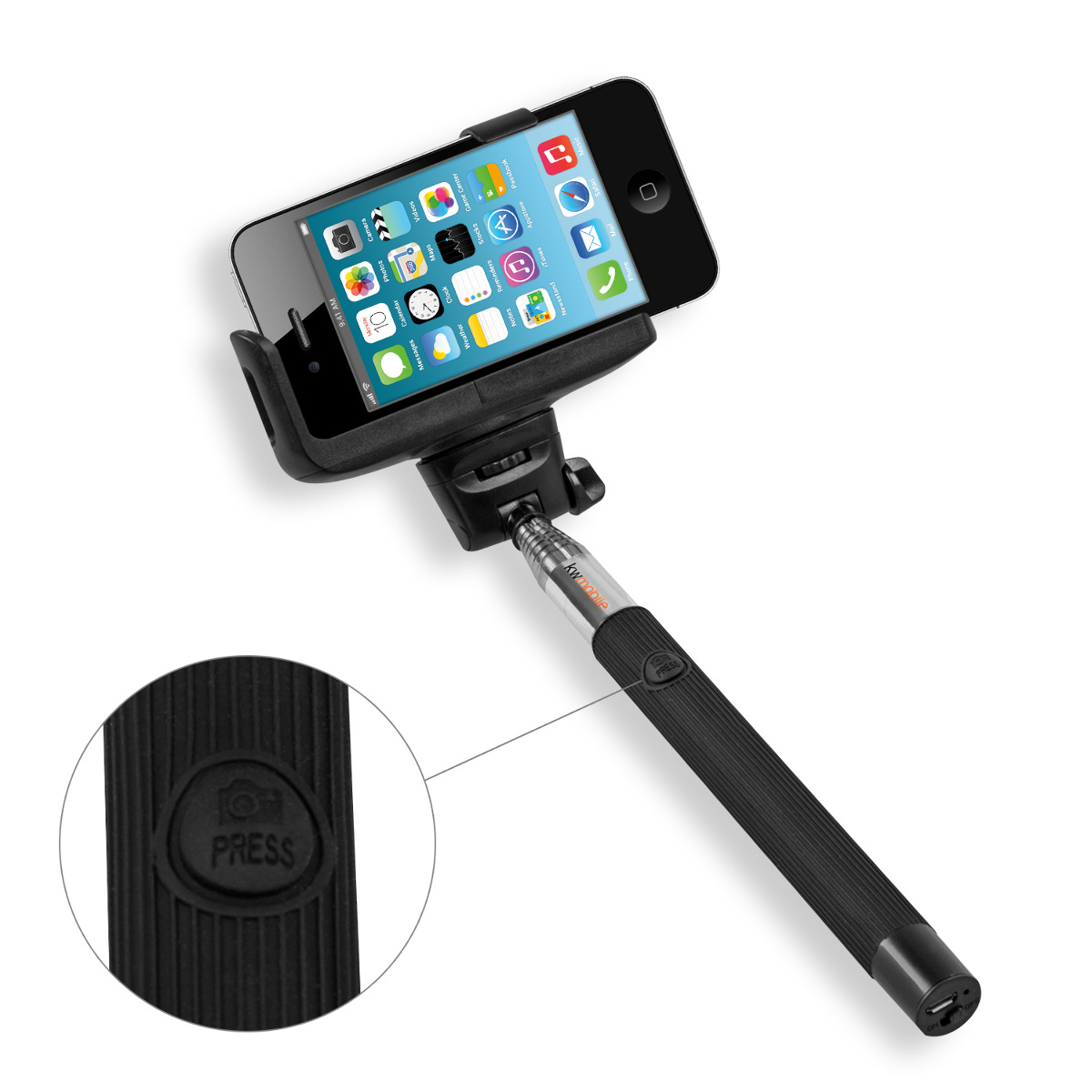kwmobile monopod selfie stick mount bluetooth remote for apple iphone 4 4s ebay. Black Bedroom Furniture Sets. Home Design Ideas