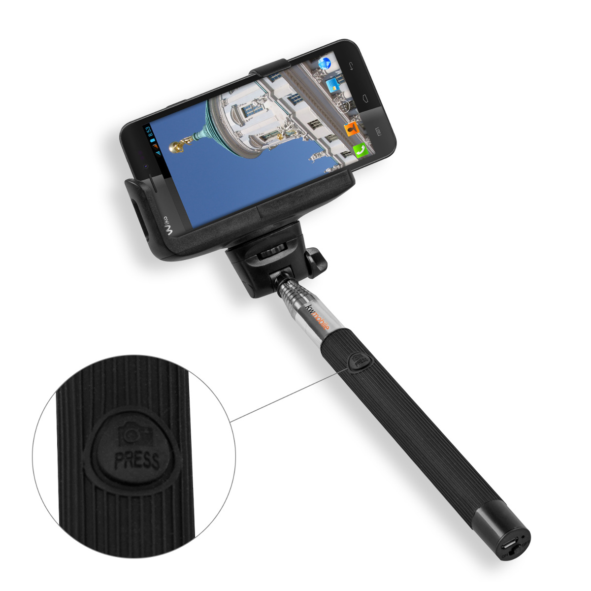 kwmobile monopod selfie stick mount bluetooth remote for wiko lenny camera stick ebay. Black Bedroom Furniture Sets. Home Design Ideas