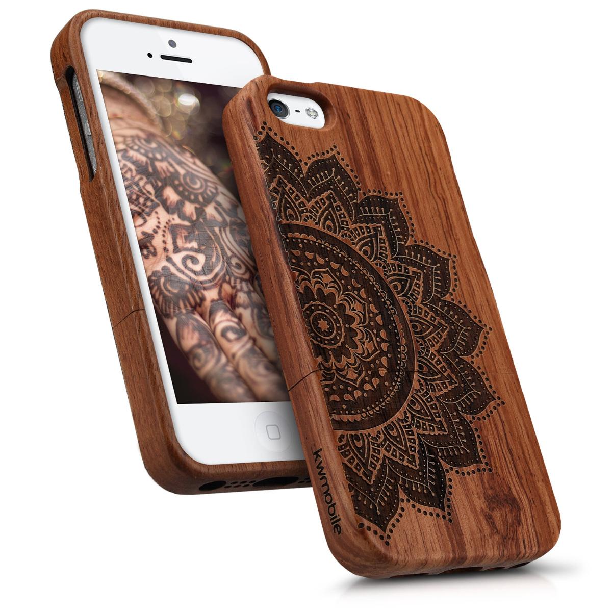 kwmobile holz hard case f r apple iphone se 5 5s cover. Black Bedroom Furniture Sets. Home Design Ideas