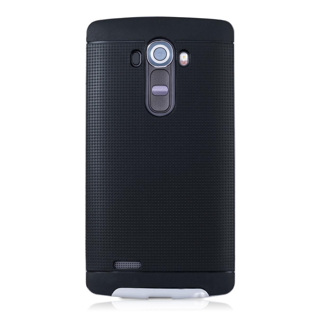 Schutz Hülle für LG G4 Schwarz Gitter Case Cover Bumper Handy Silikon Hybrid