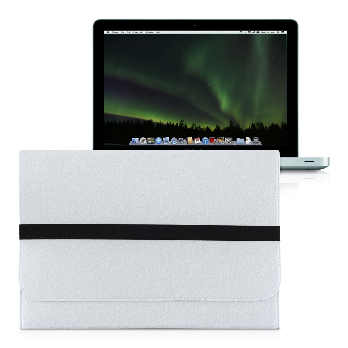 kwmobile laptop sleeve filz wei f r apple macbook pro 15. Black Bedroom Furniture Sets. Home Design Ideas