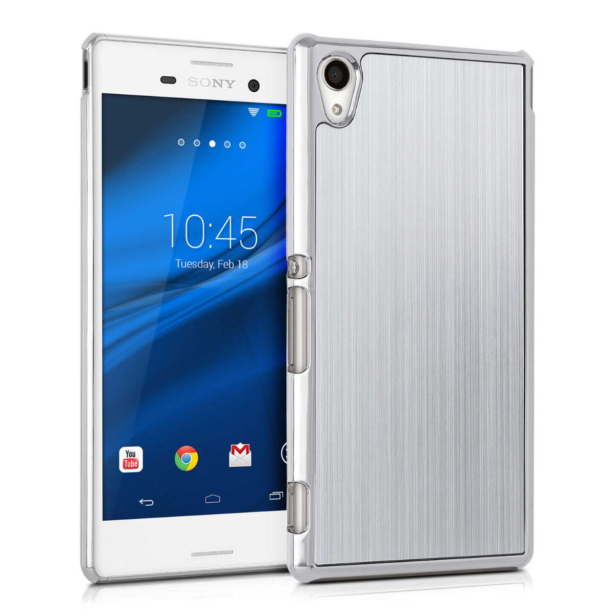 Brushed Aluminum Hard Case Back Cover For Sony Xperia M4 Aqua Kwmobile Shockproof Protective Silver