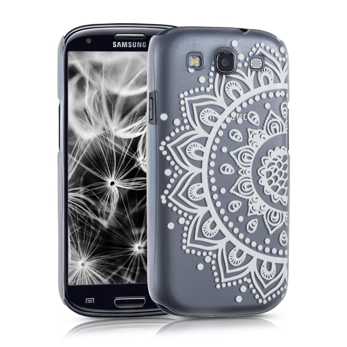 Kvalitní plastové pouzdro pro Samsung S3 | S3 Neo - Henna Sunkvětiny bílé / transparentní