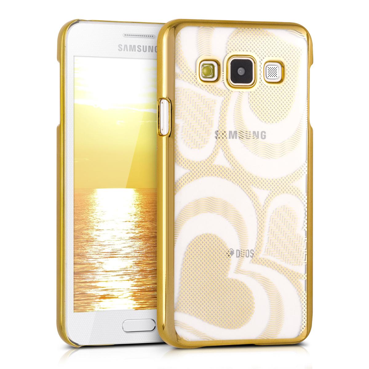 Kvalitní plastové pouzdro pro Samsung A3 (2015) - Srdce Gold / transparentní