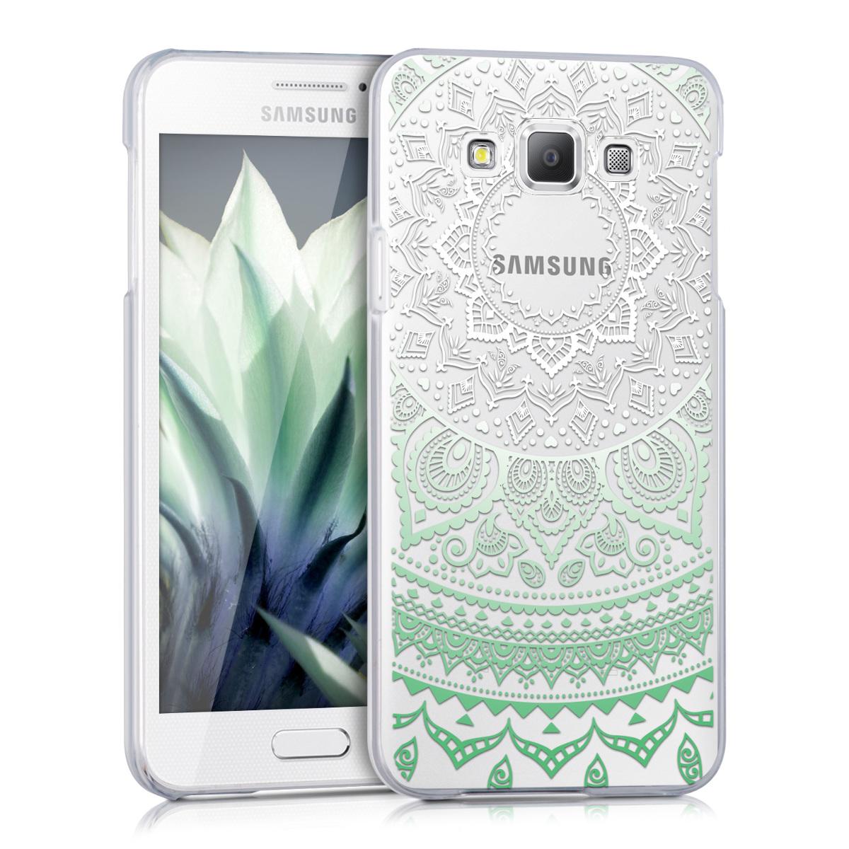 Kvalitní plastové pouzdro pro Samsung A3 (2015) - indické slunce mint zelené / bílé / transparentní