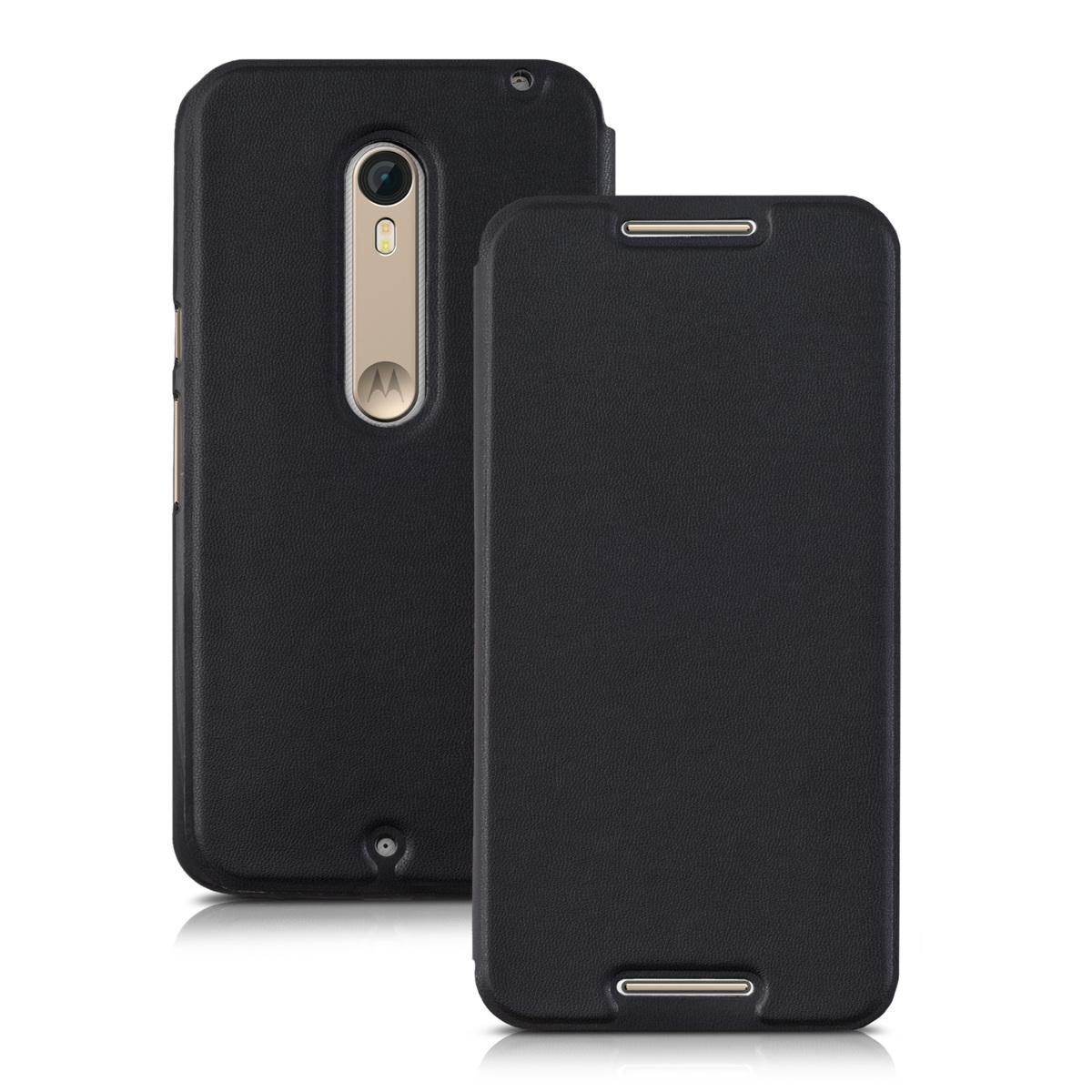Flip Schutz Kunstleder Hülle für Motorola Moto X Style Schwarz Case Tasche