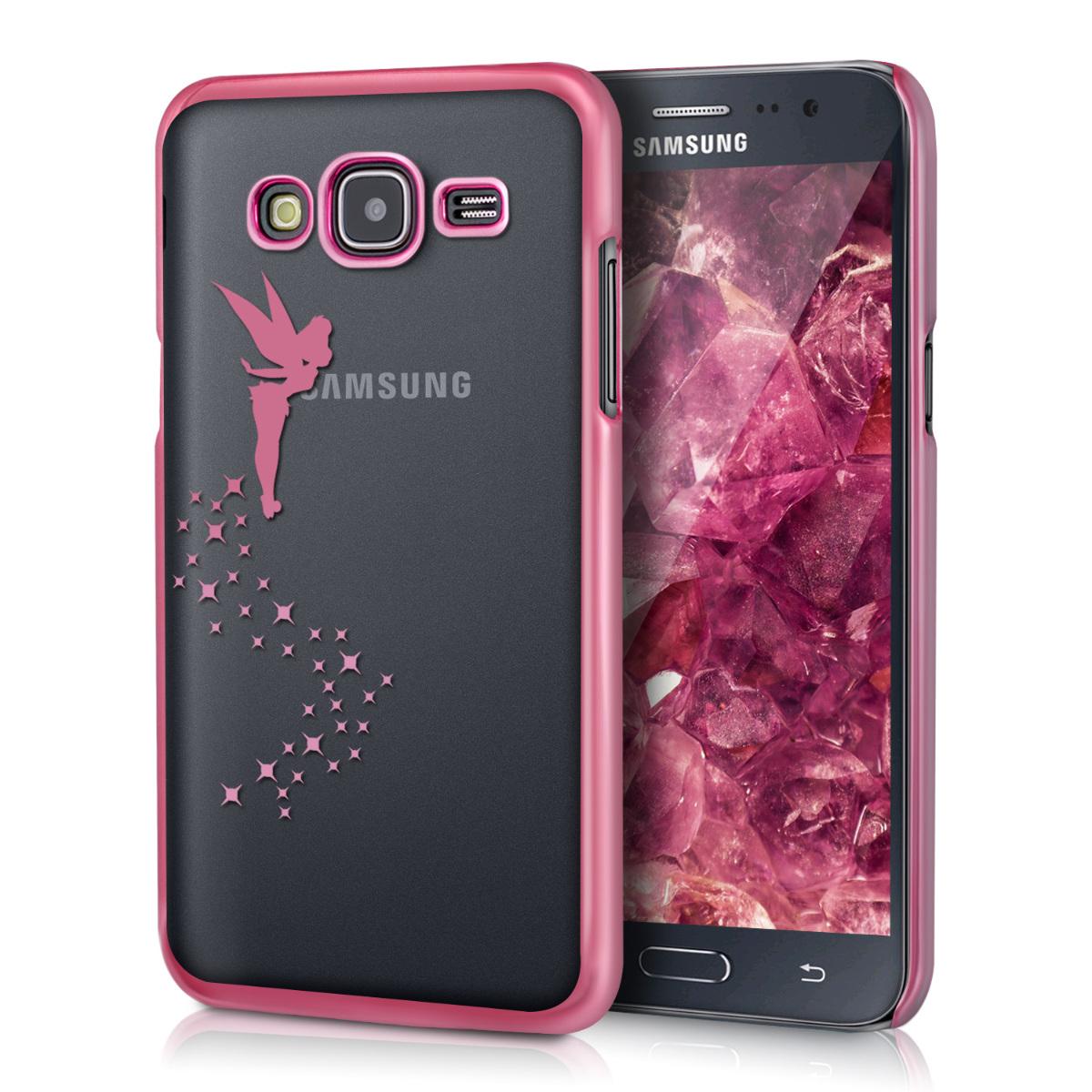 Kvalitní silikonové TPU pouzdro pro Samsung J5 (2015) - Víla tmavě růžové / transparentní