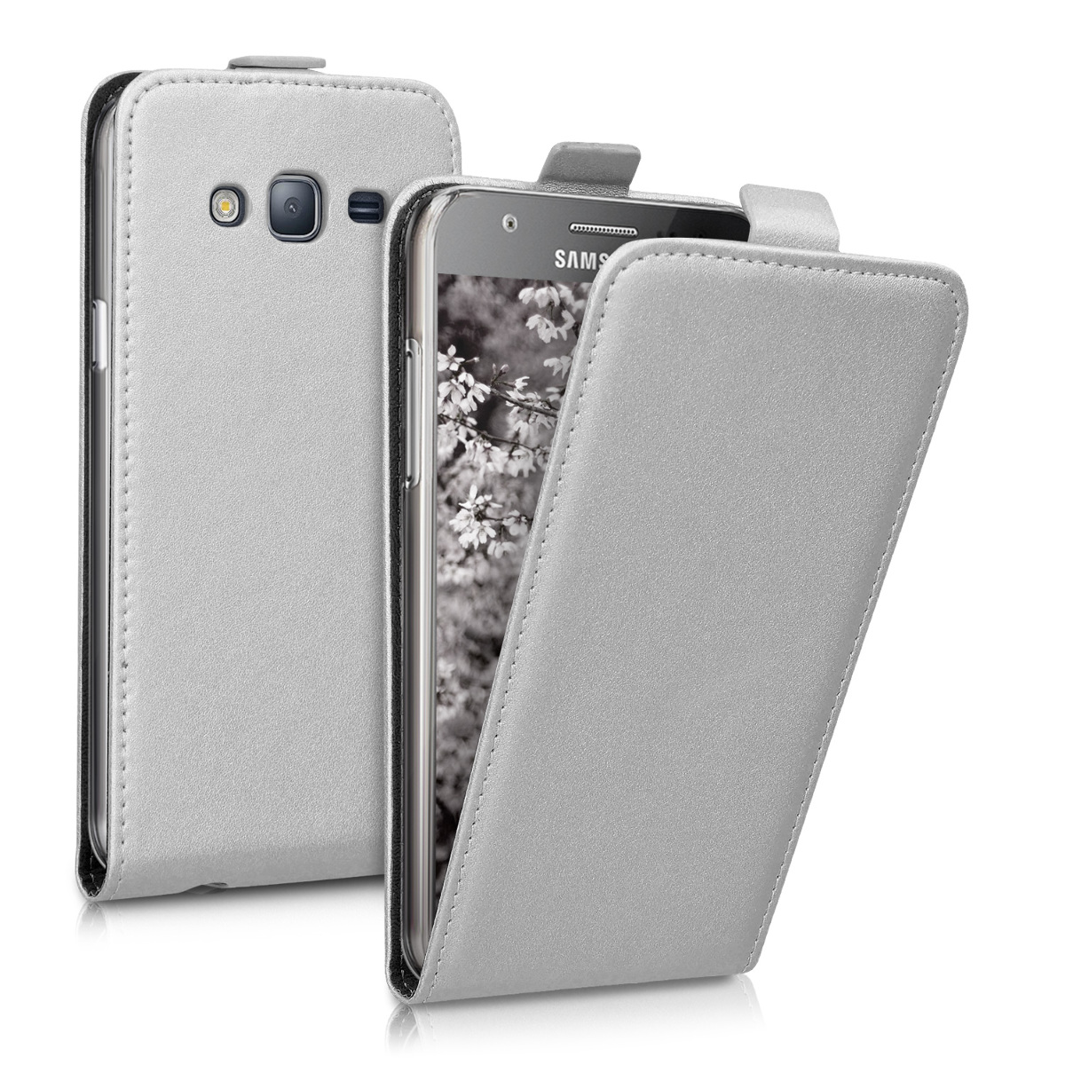 Kožené pouzdro pro Samsung J5 (2015) - stříbrný