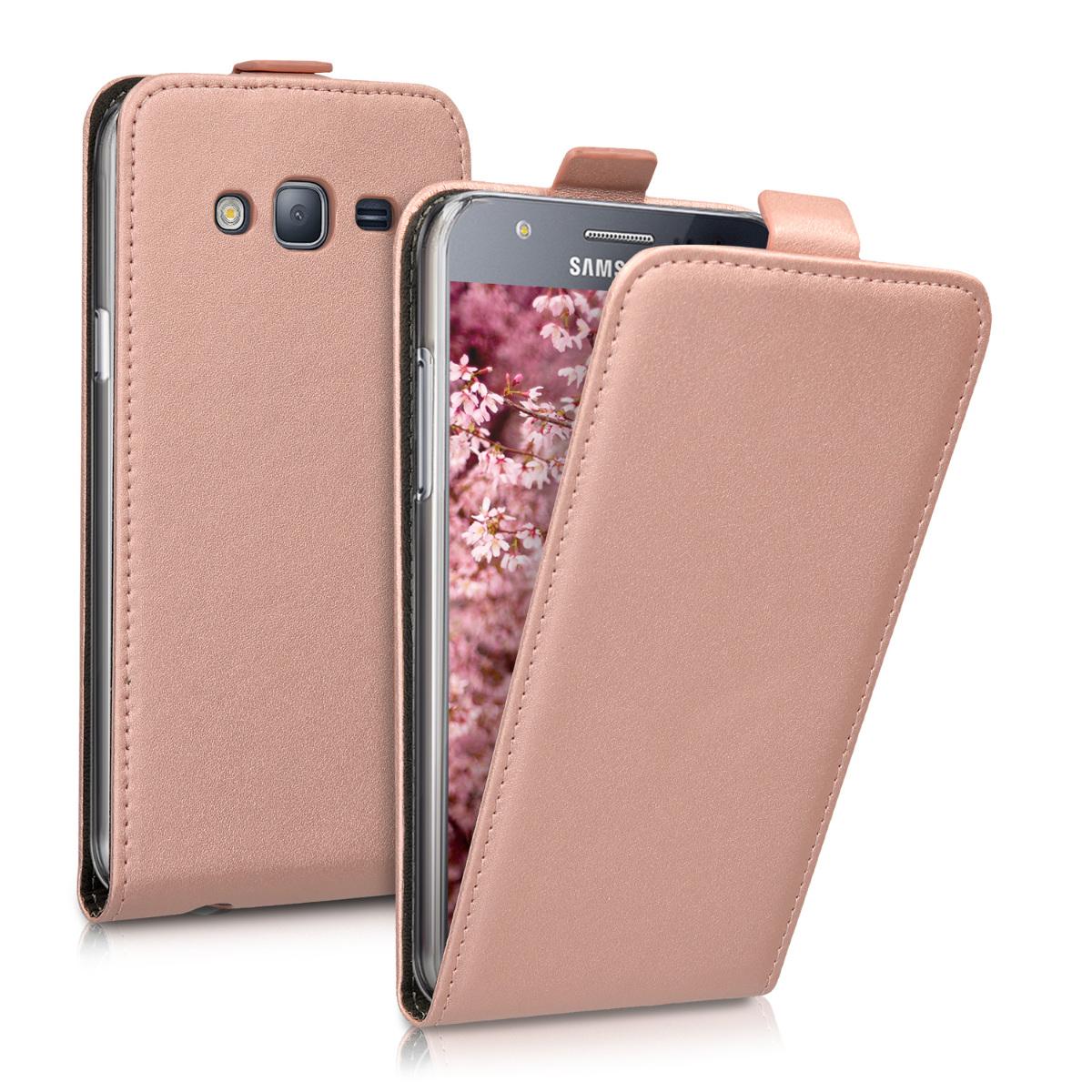 Kožené pouzdro pro Samsung J5 (2015) - starorůžové rosegold
