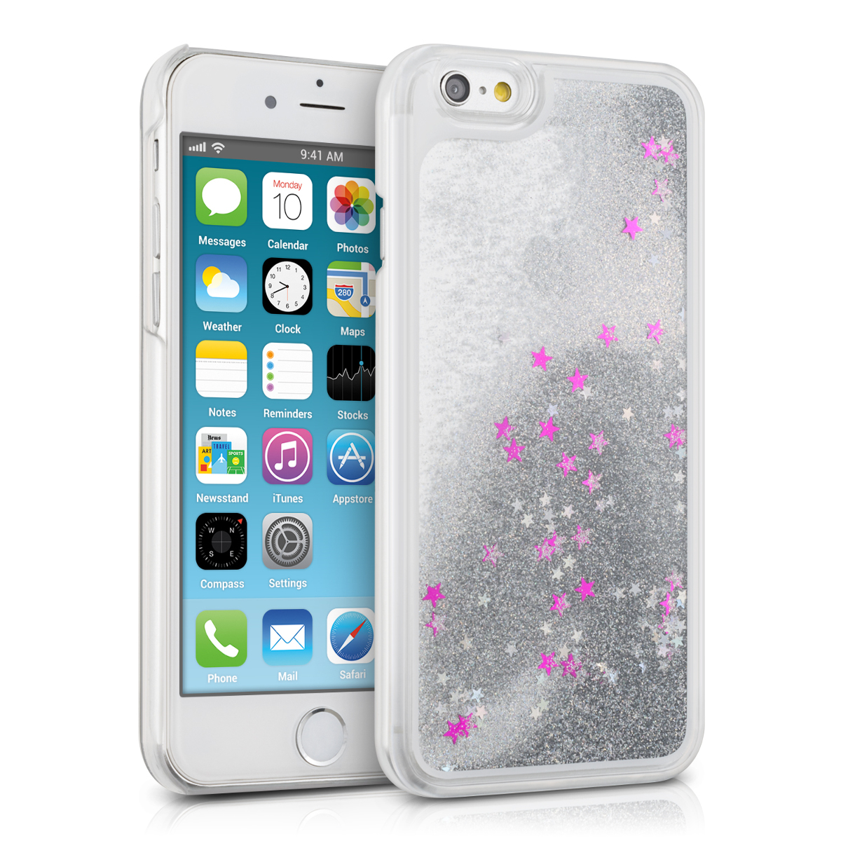 kwmobile hard case fl ssig f r apple iphone 6 6s schneekugel sterne silber ebay. Black Bedroom Furniture Sets. Home Design Ideas