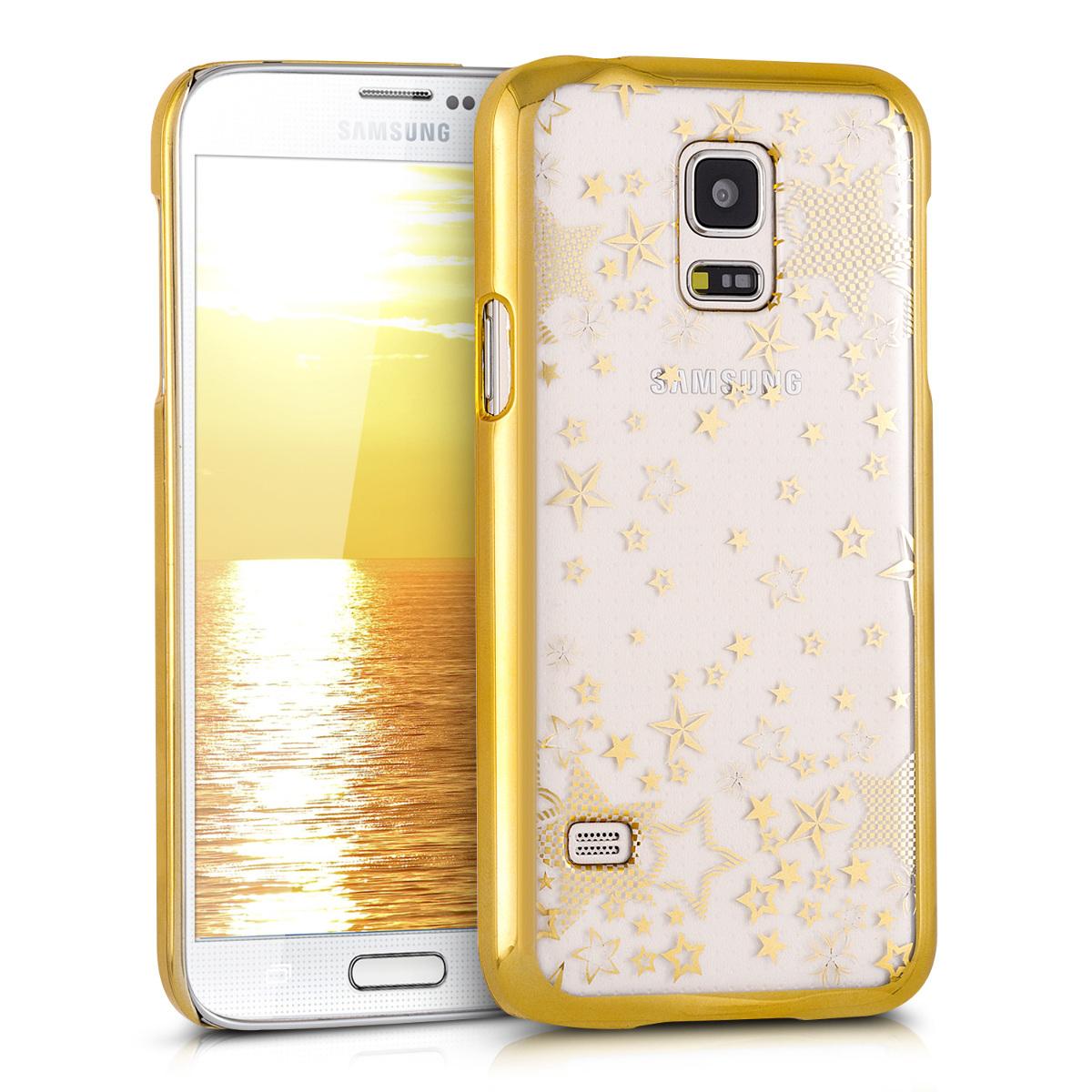Kvalitní plastové pouzdro pro Samsung S5 Mini G800 - Stars Gold / transparentní
