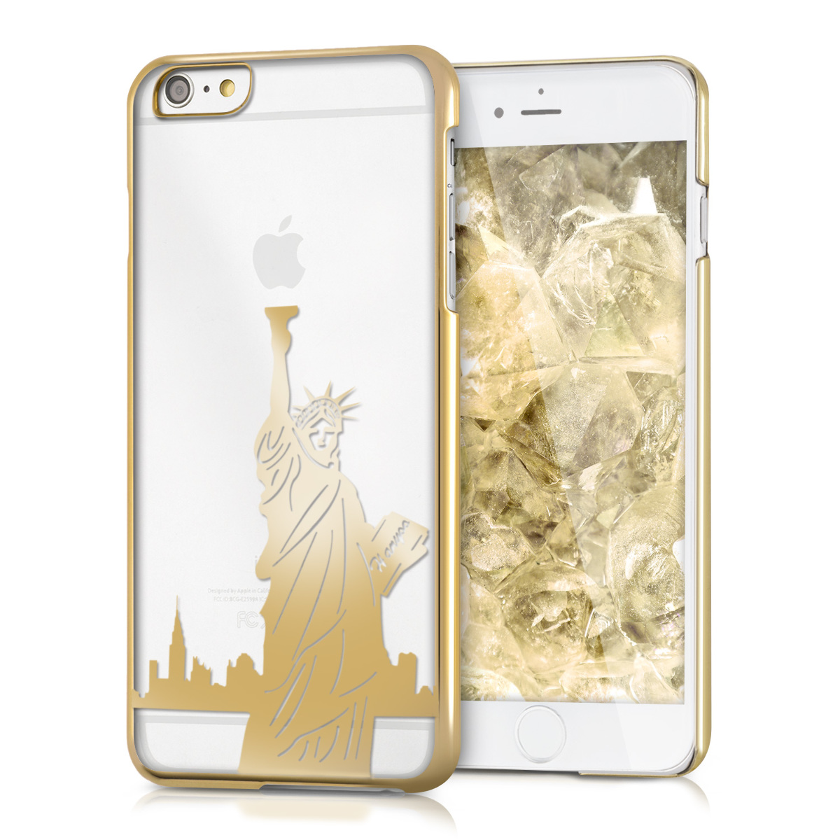 Kvalitní plastové pouzdro pro Apple iPhone 6 Plus / 6S - Statue of Liberty Gold | Transparent