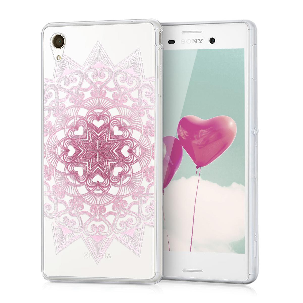 Kvalitní silikonové TPU pouzdro | obal pro Sony Xperia M4 Aqua - srdce Pattern růžové / bílé / průhledné