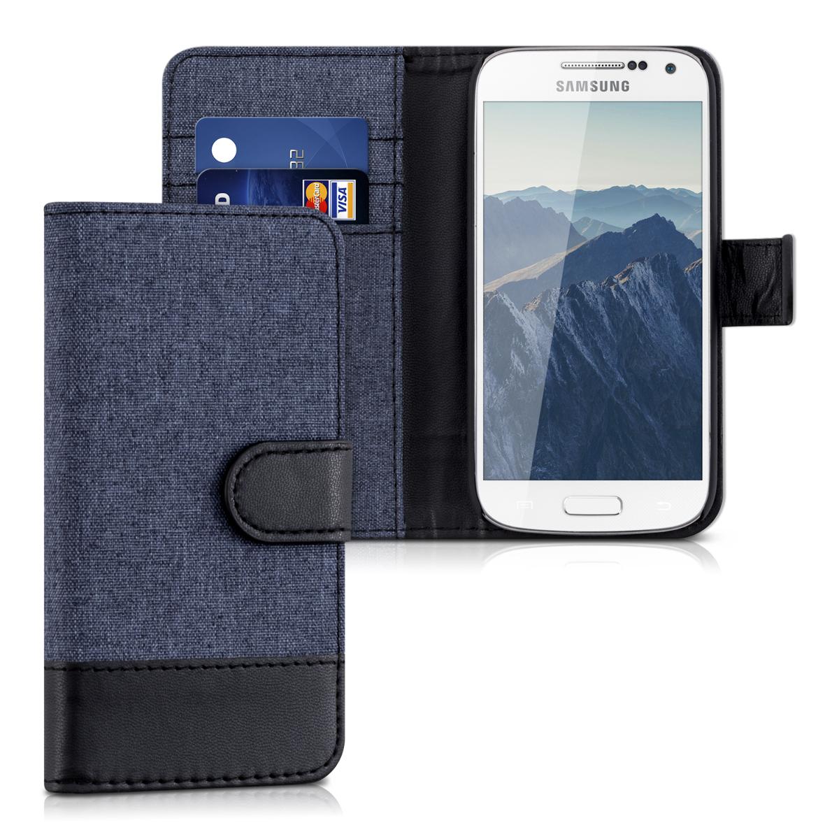 Fabricpouzdro pro Samsung S4 Mini - tmavě modré / černé